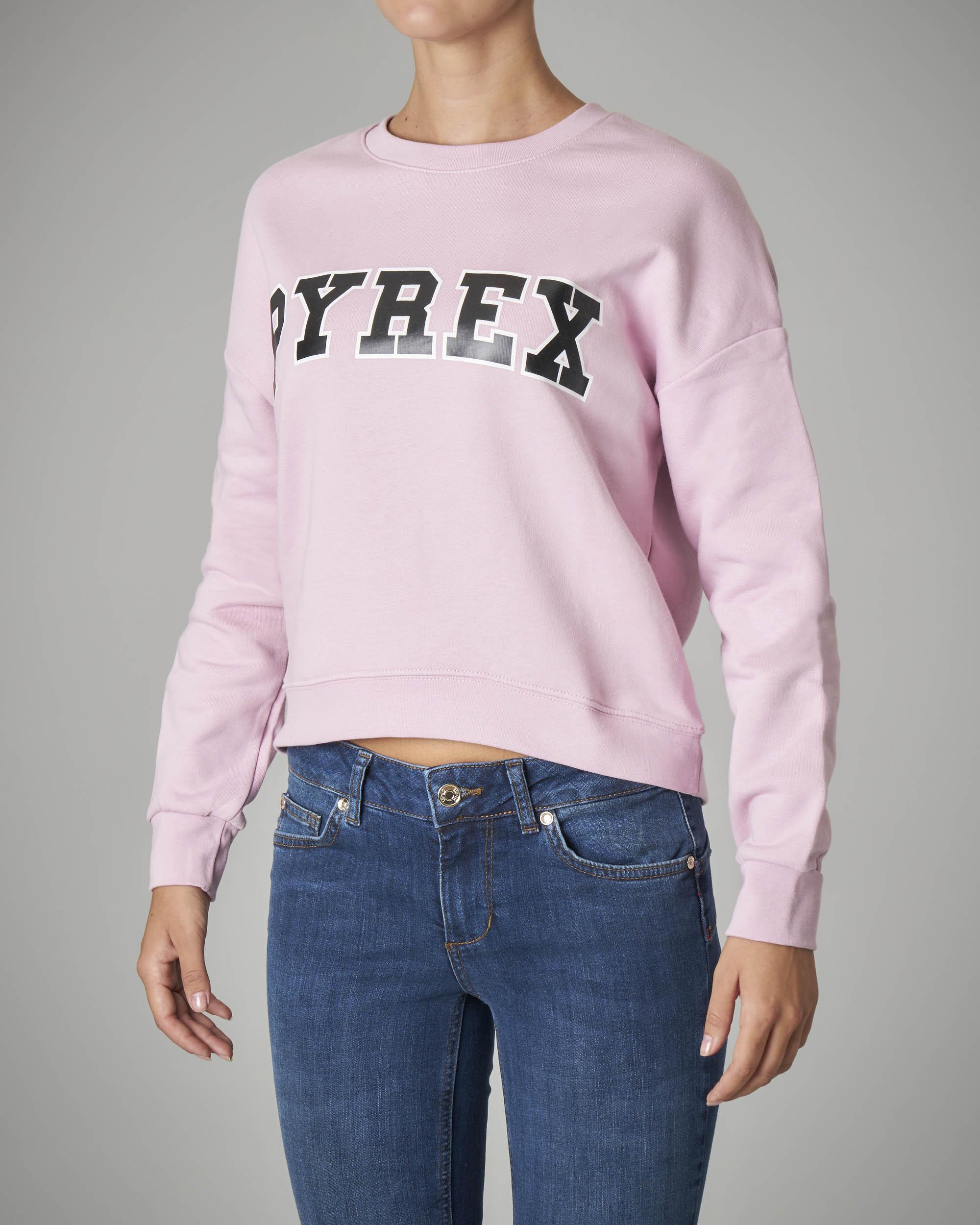 Felpa crop rosa con logo