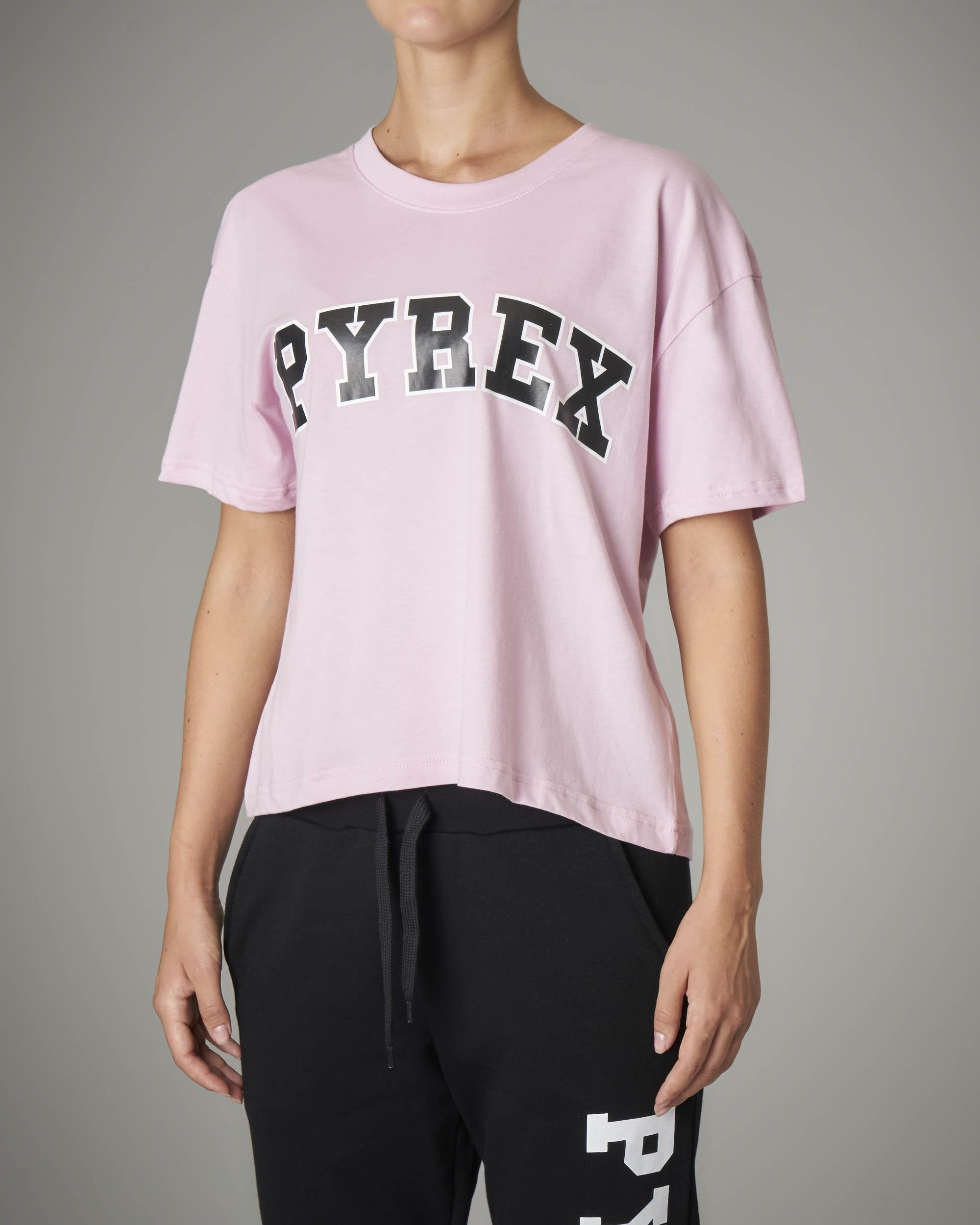 T-shirt crop rosa con logo