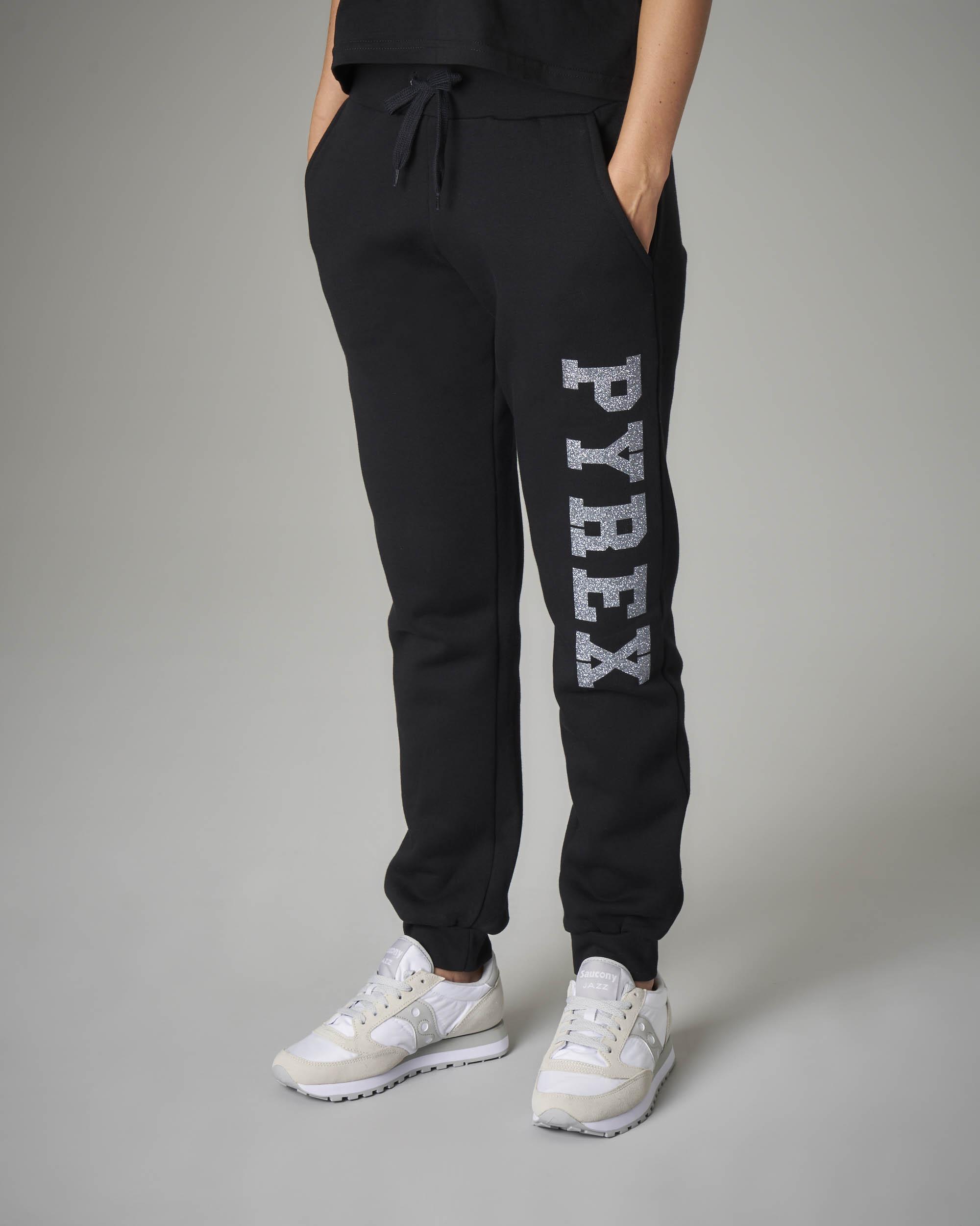 Pantaloni tuta neri con logo