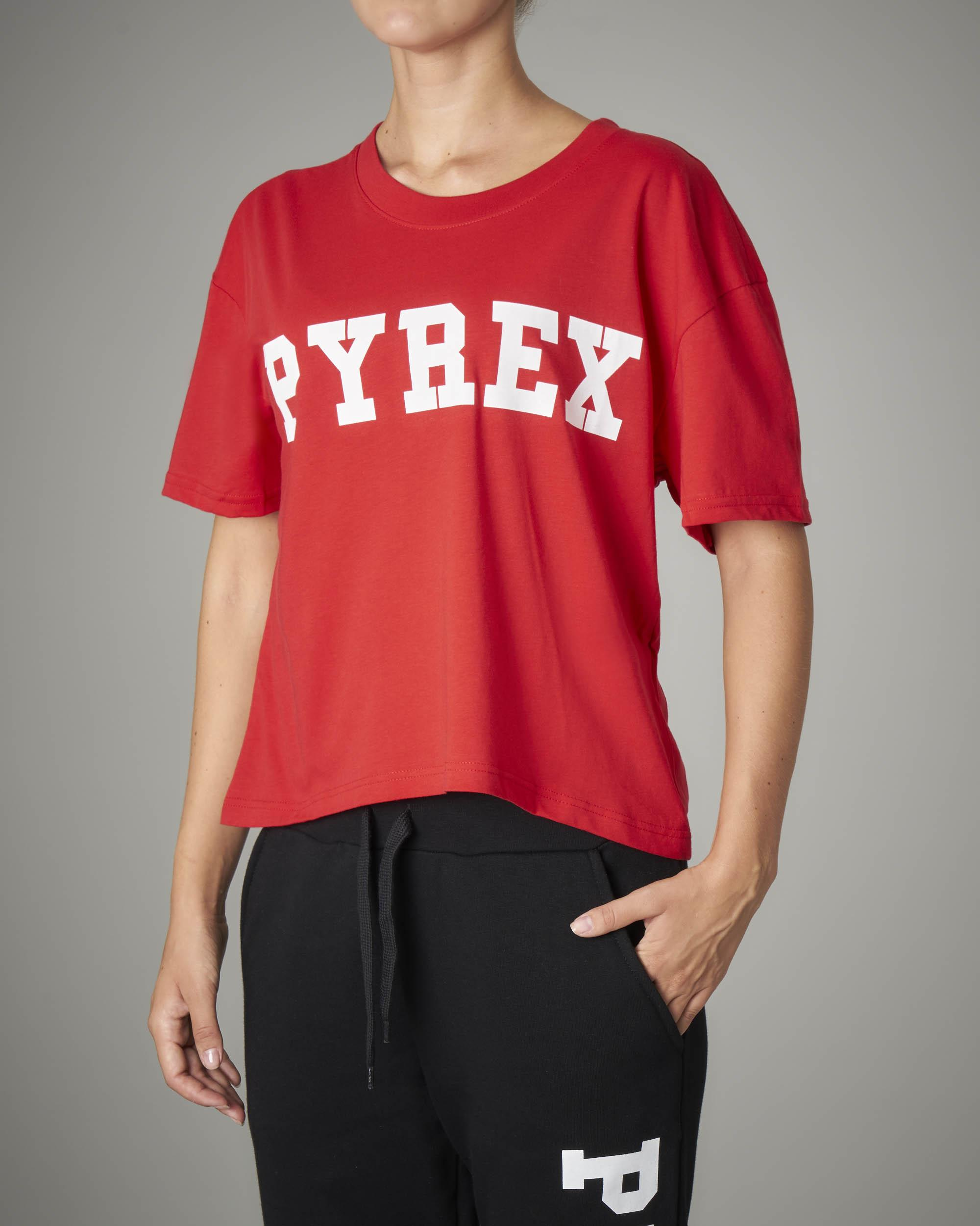 T-shirt crop rossa con logo a tinta unita