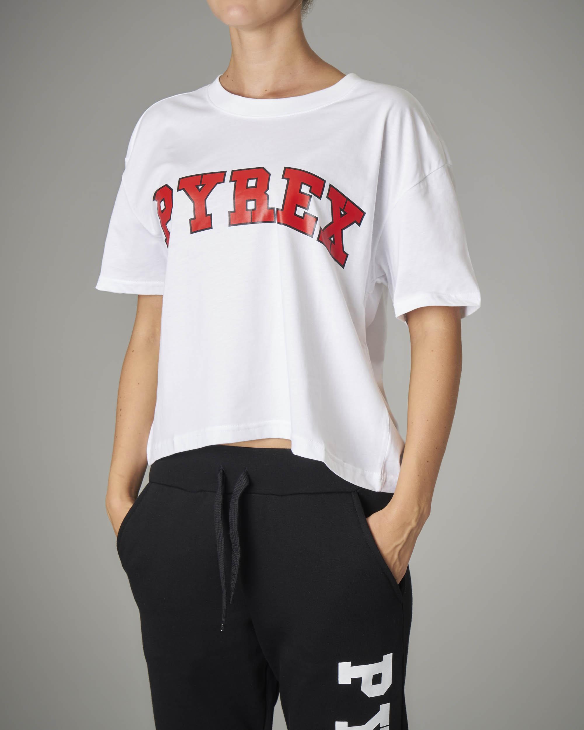 T-shirt crop bianca con logo