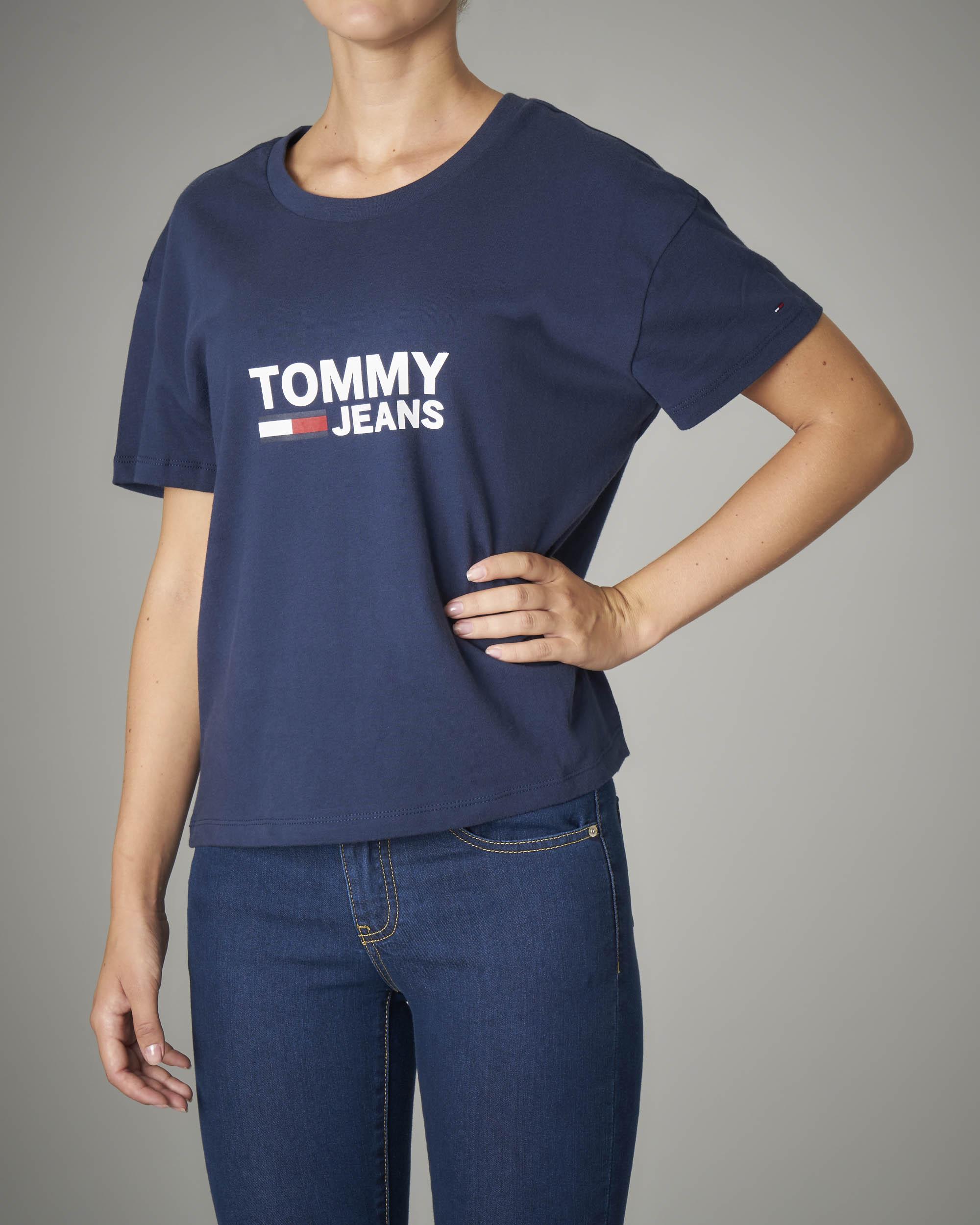 T-shirt manica corta blu con logo