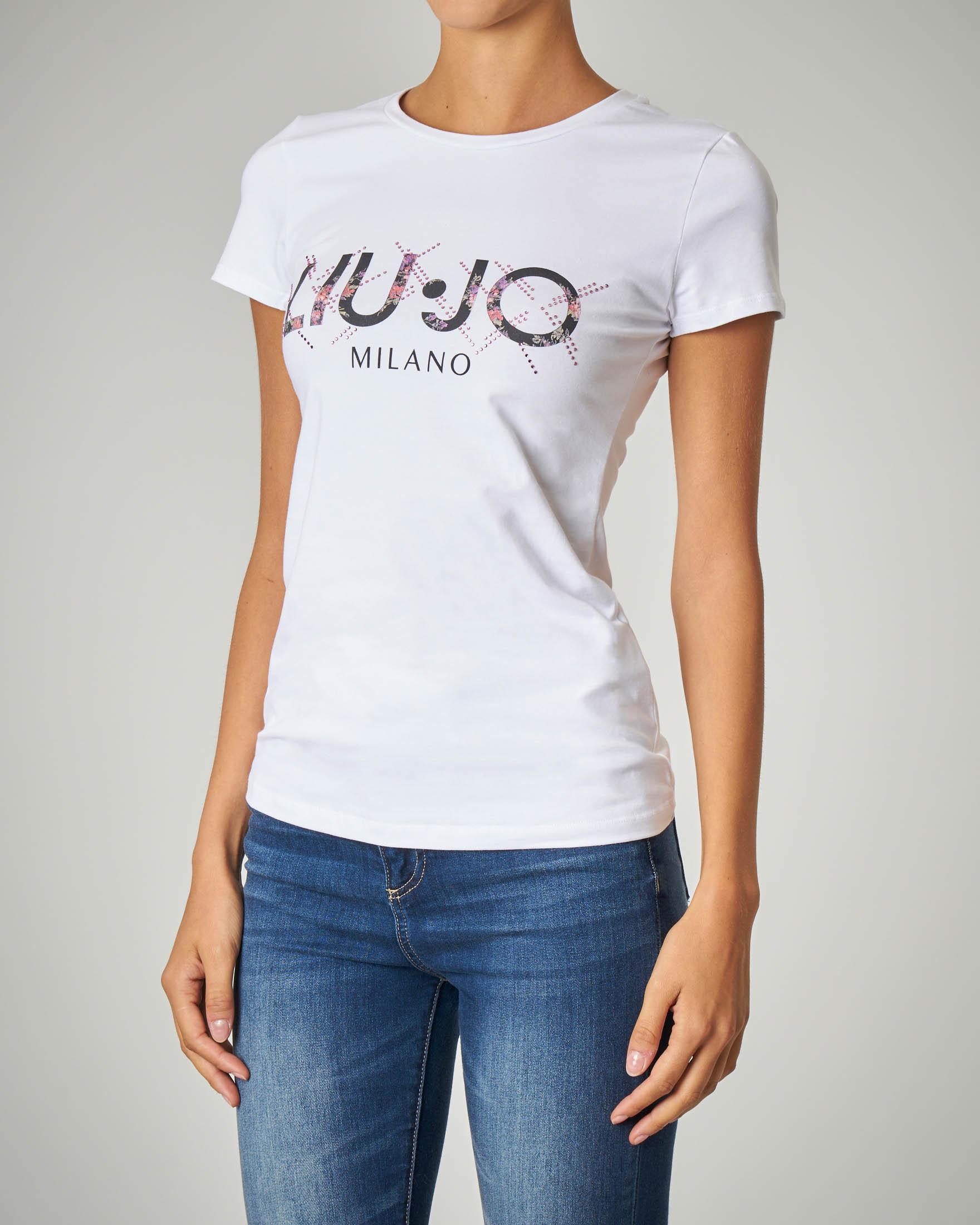 T-shirt bianca in cotone stretch con logo