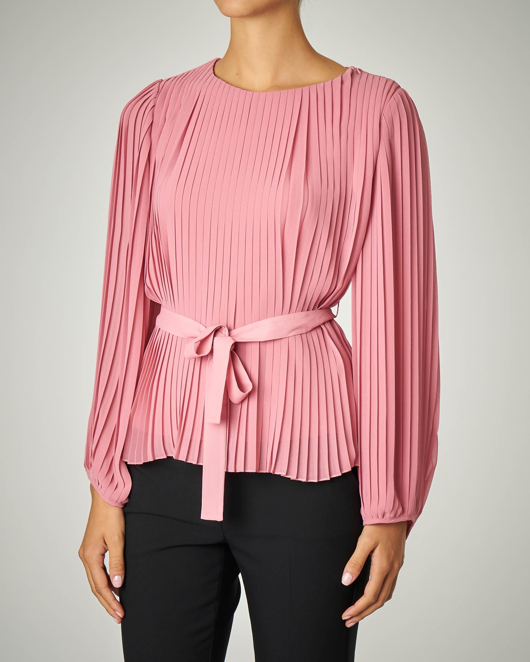 Camicia rosa plissè