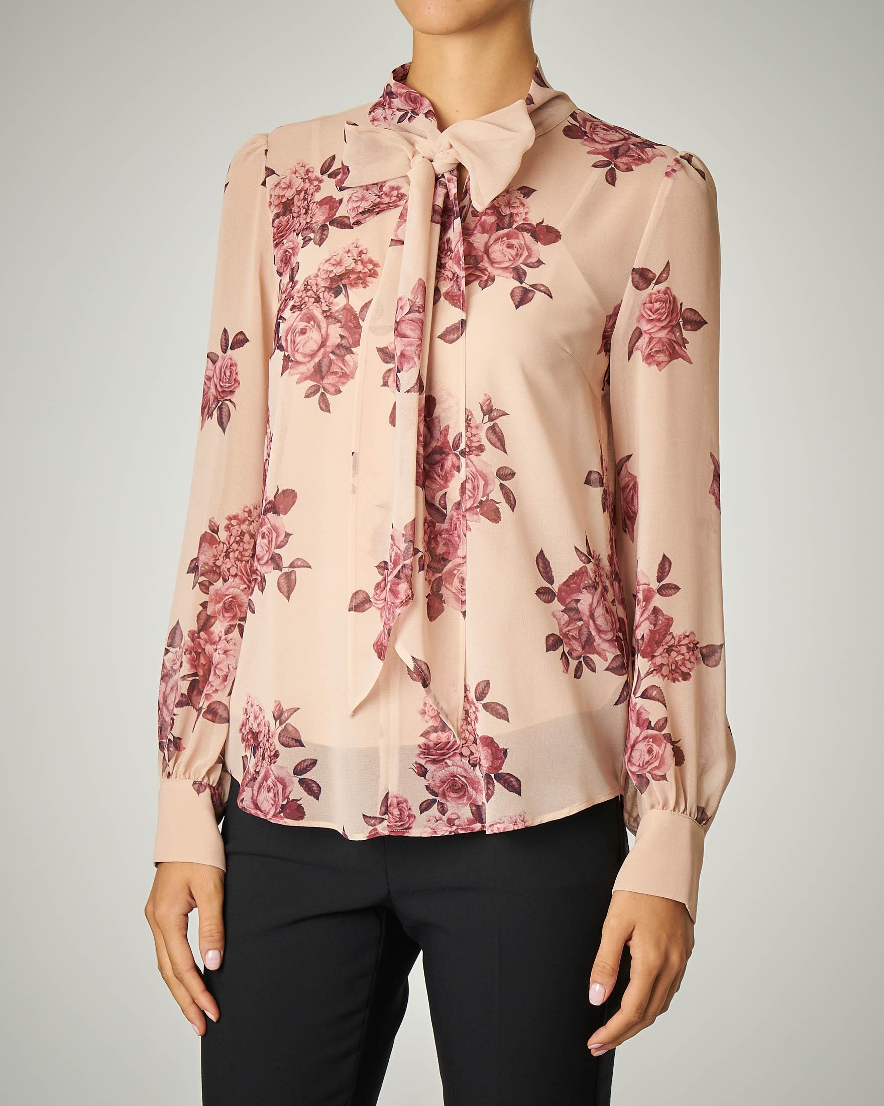 Camicia con fiocco stampa rose