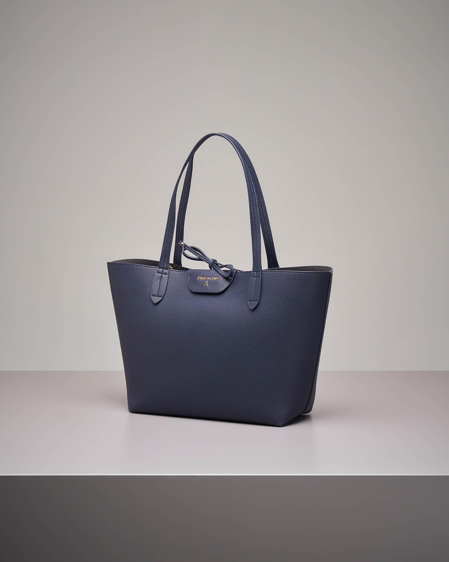 Shopping bag reversibile blu grigio