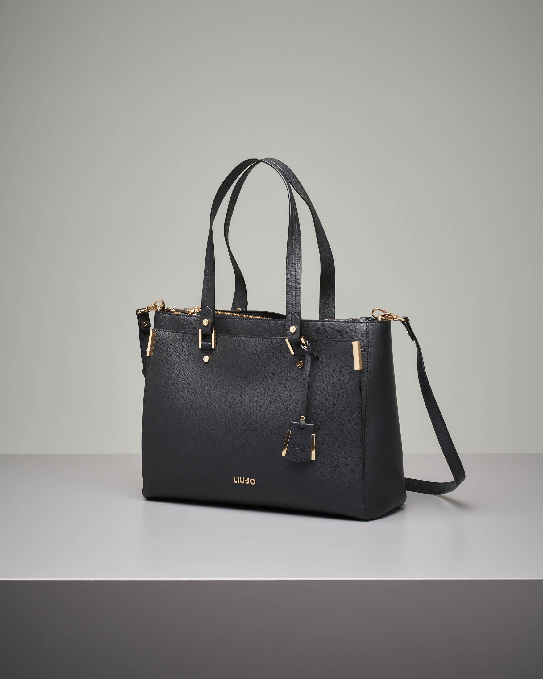 Shopping bag nera rigida misura grande