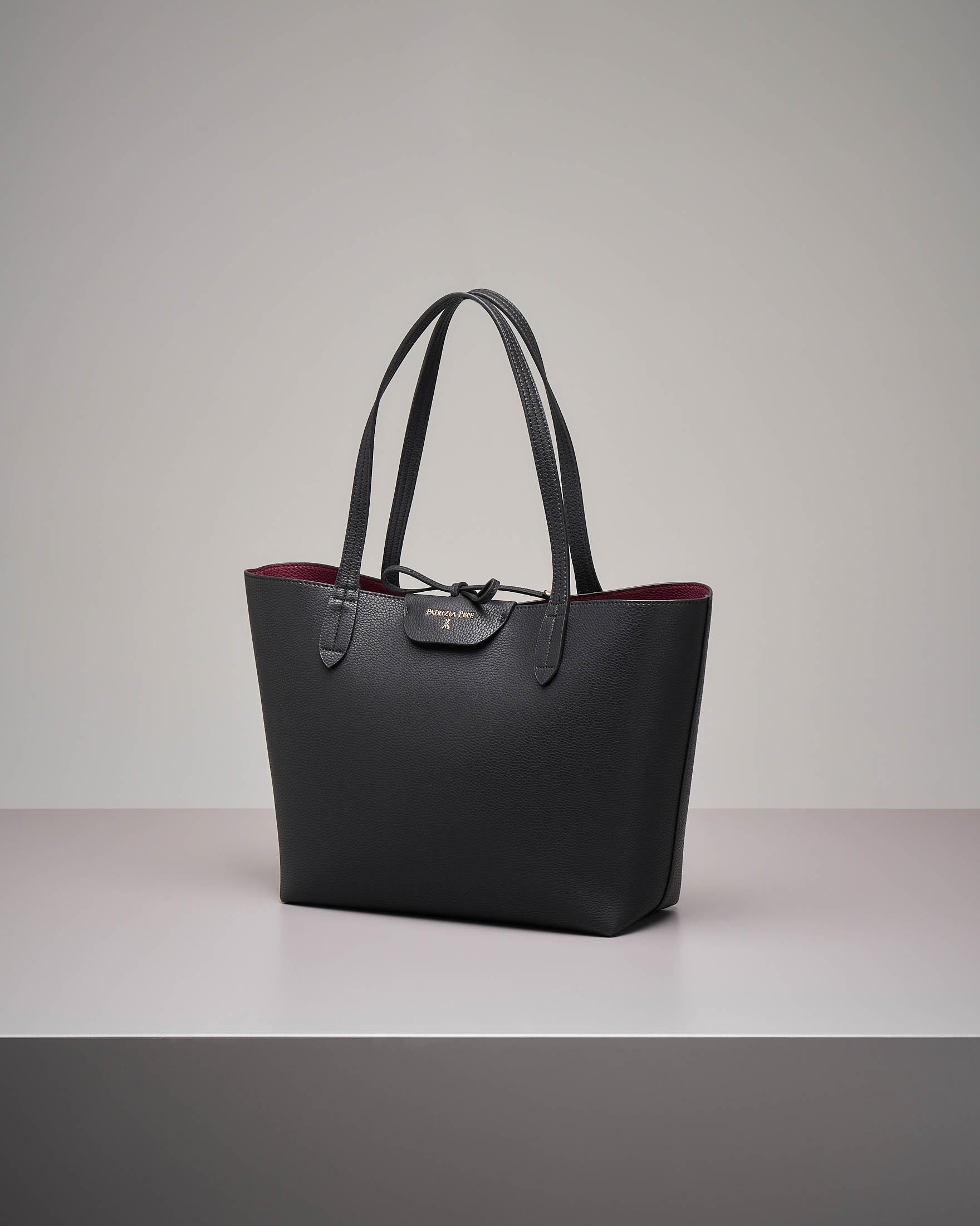 Shopping bag reversibile nero bordeaux