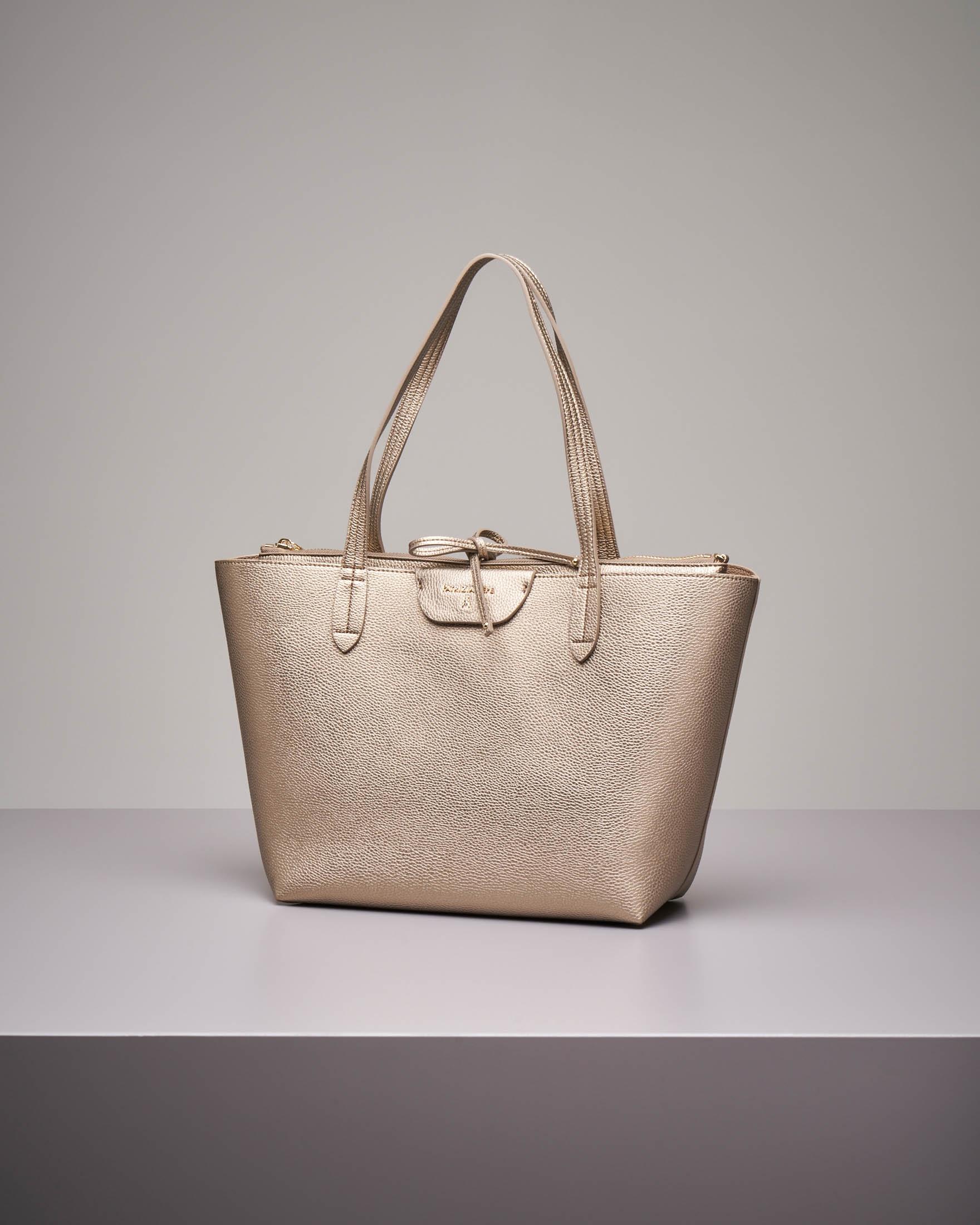 Shopping bag reversibile oro beige