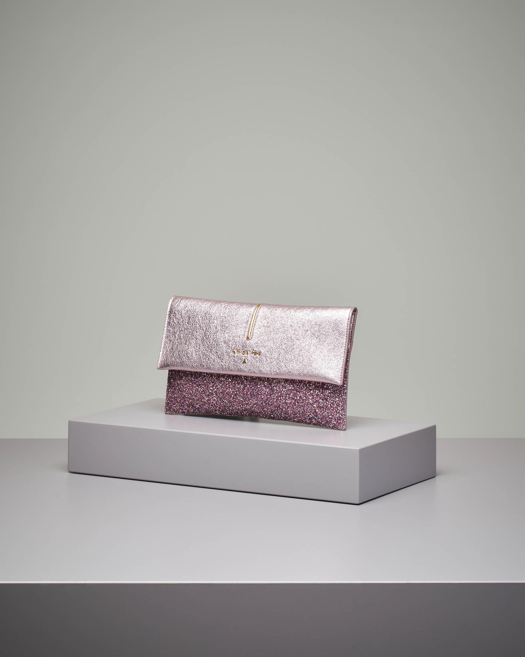 Pochette in pelle rosa glitter