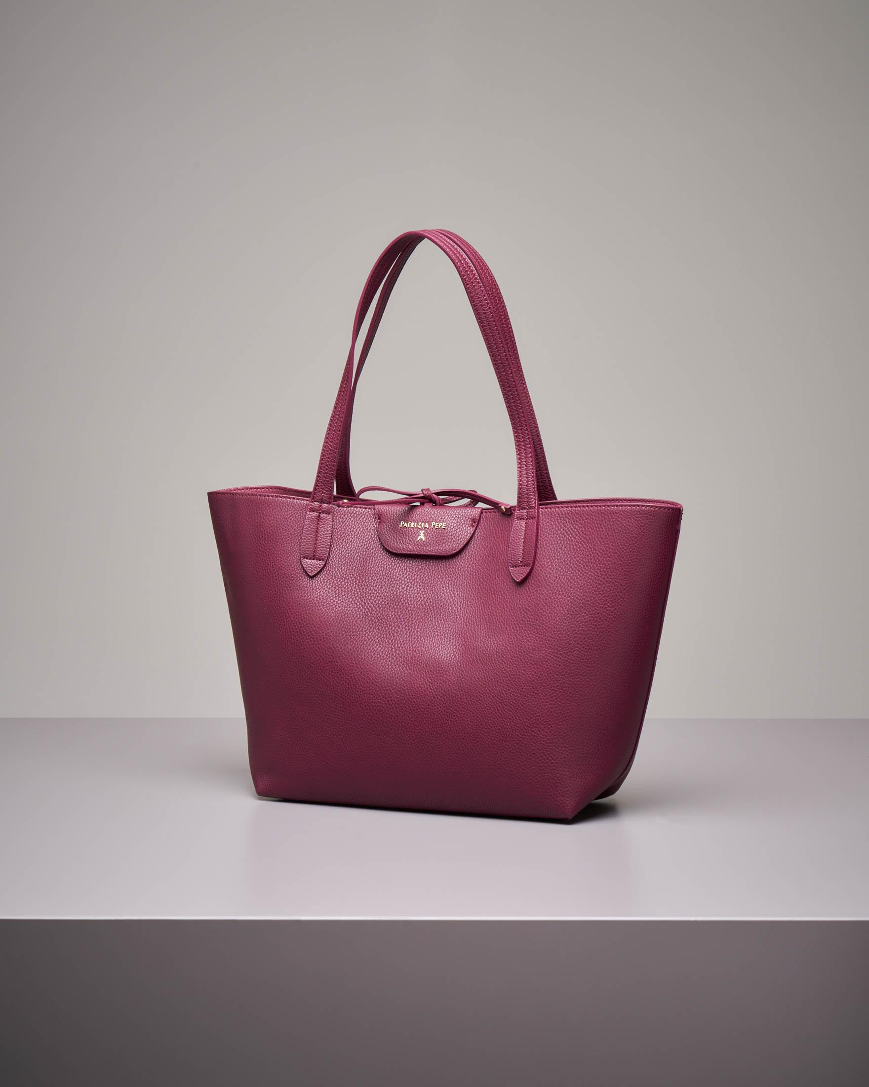 Shopping bag reversibile bordeaux rosa