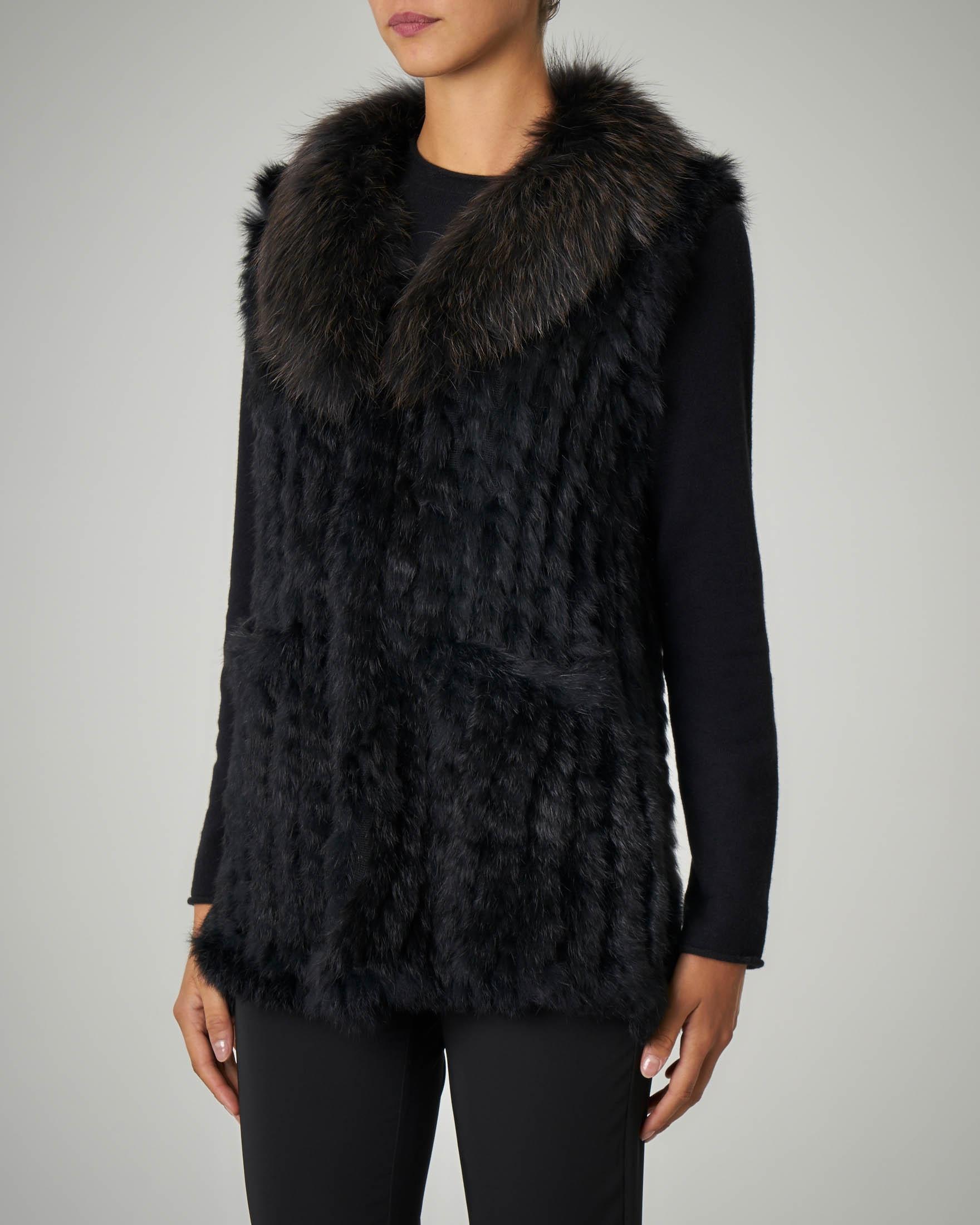 Gilet in pelliccia color nero