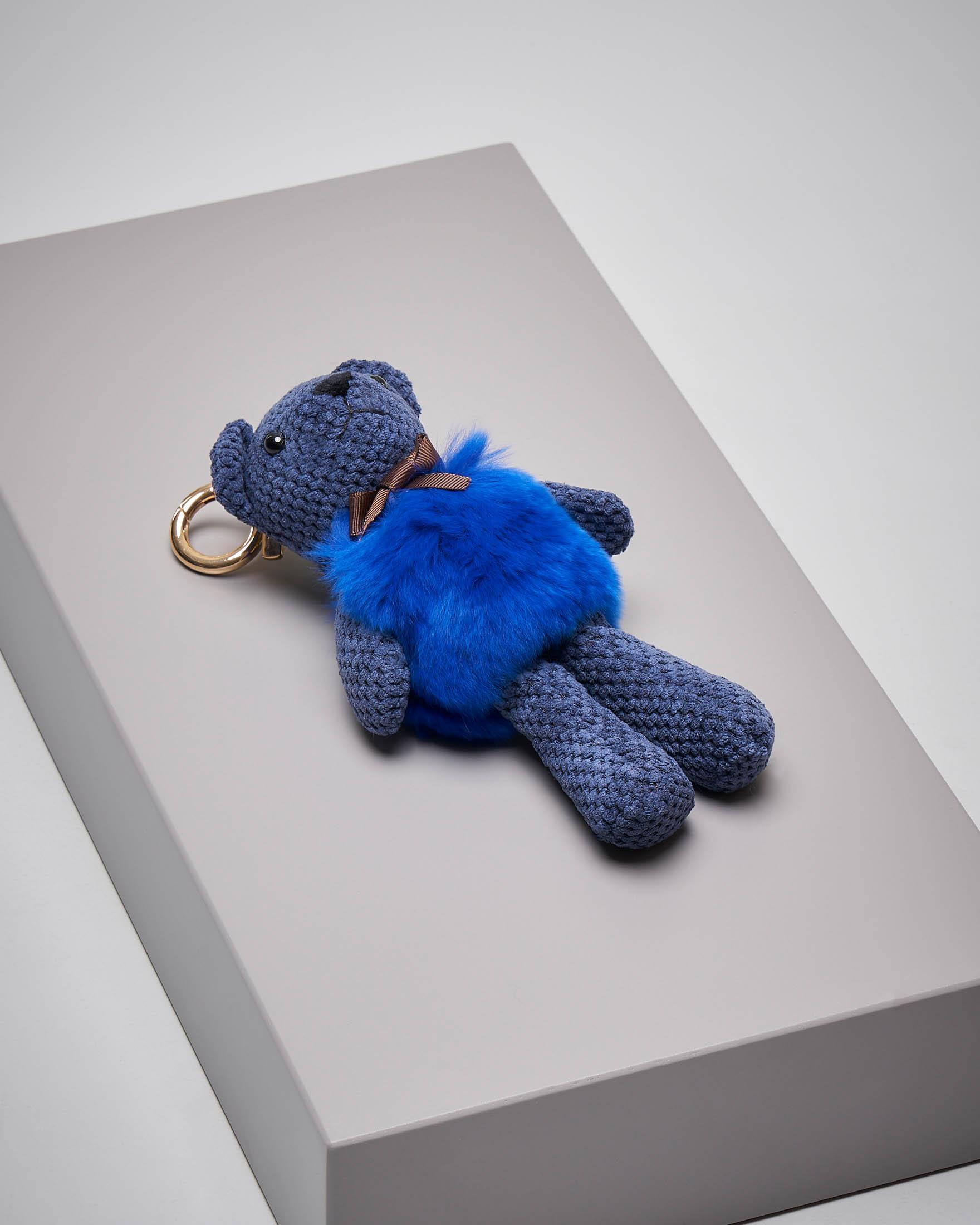 Portachiavi orsetto blu in pelliccia