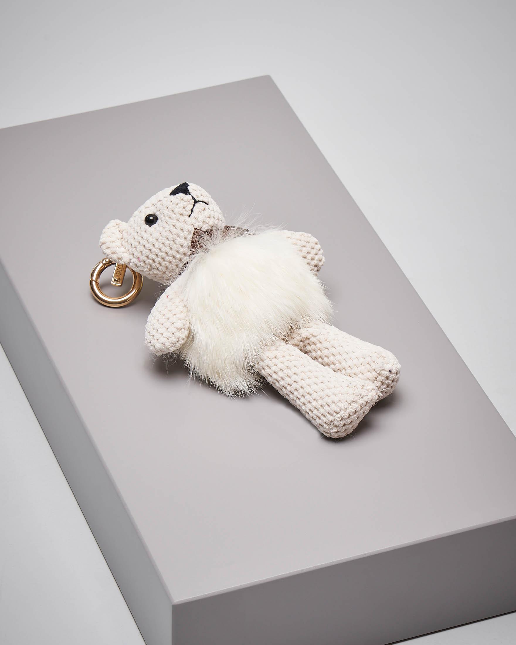 Portachiavi orsetto bianco in pelliccia