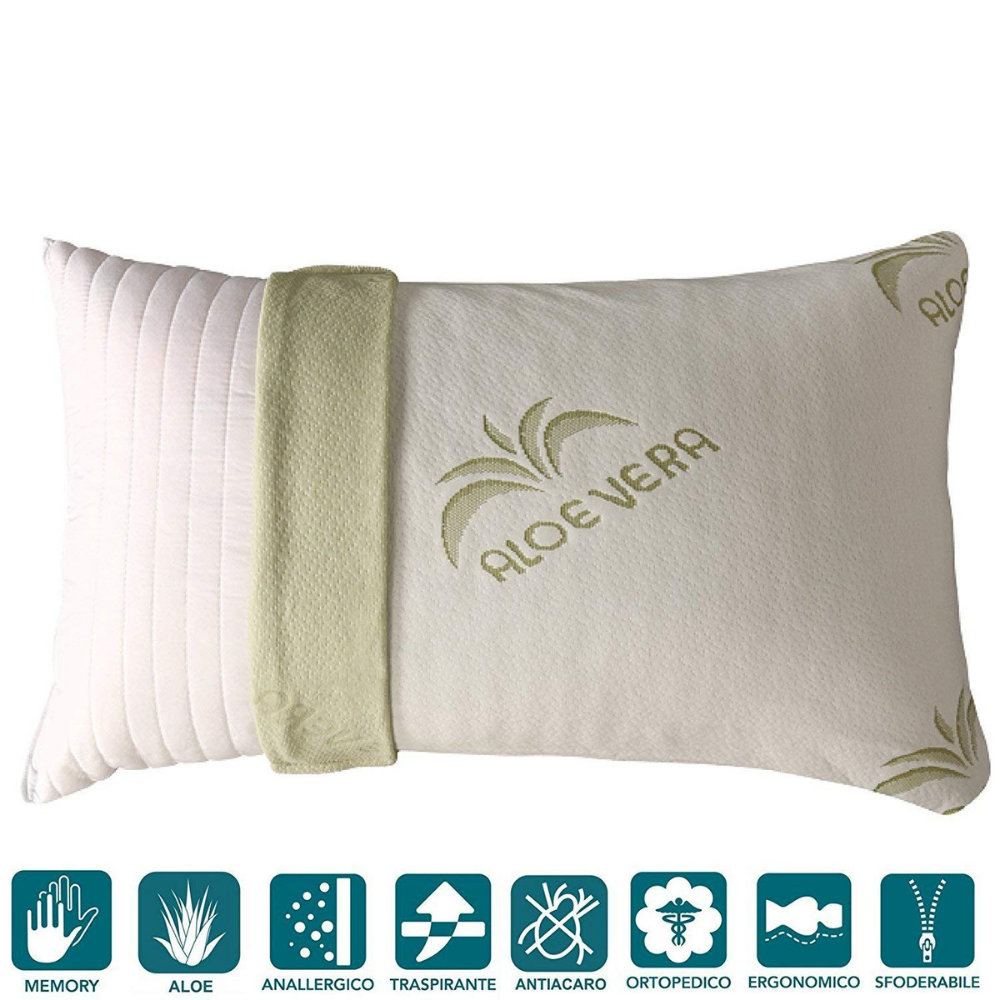 Cuscini In Aloe Vera.Cuscino Guanciale Memory Foam Saponetta Federa Aloe Vera