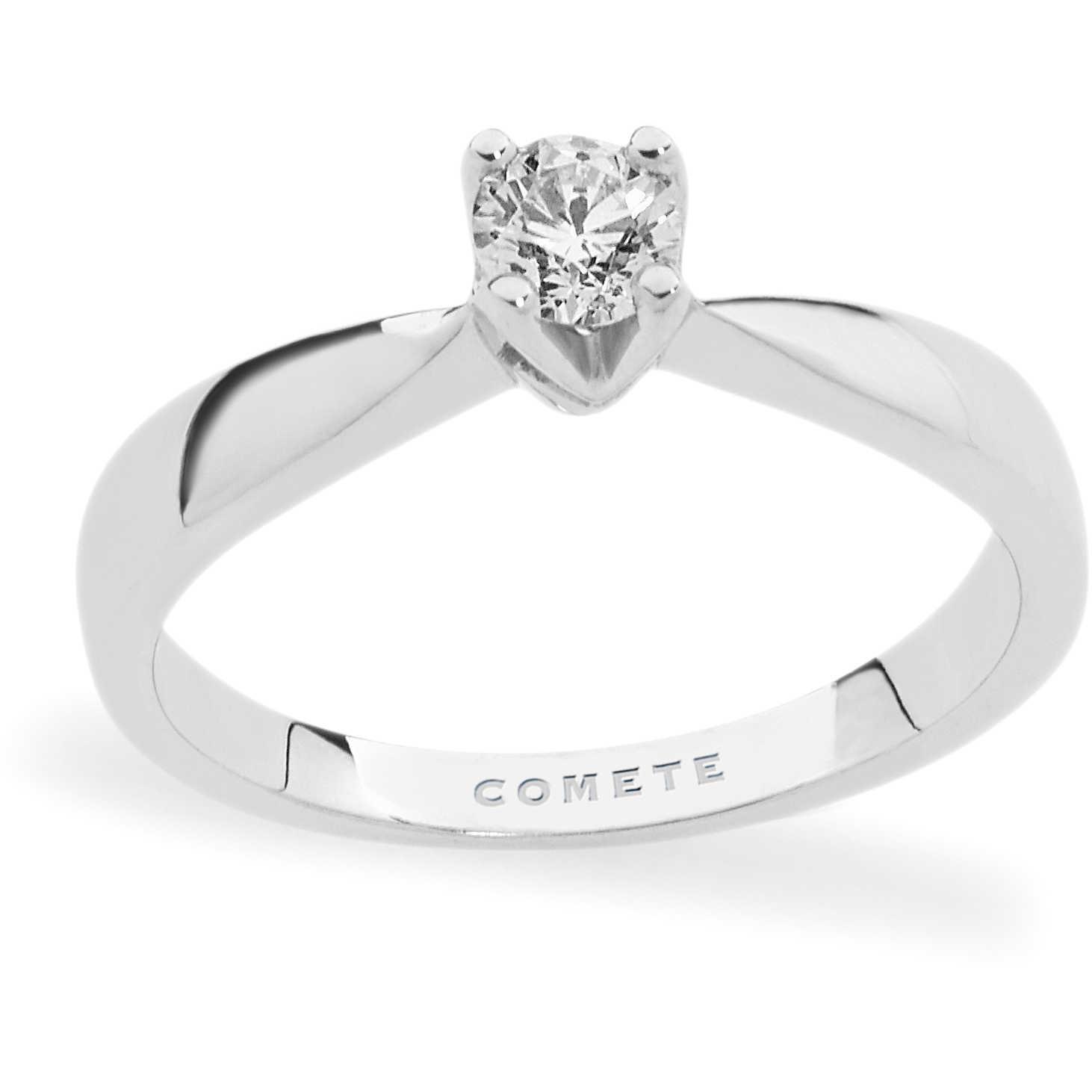 COMETE-Anello solitario in oro bianco con diamante