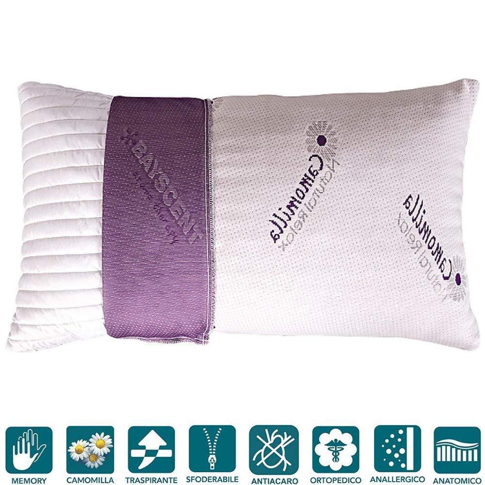 Lot de 2 oreillers à mémoire de forme, 40 x 70 x 15 cm, effet plumes d'oie douces, doublure aromathérapie huiles essentielles de camomille naturelle, déhoussables
