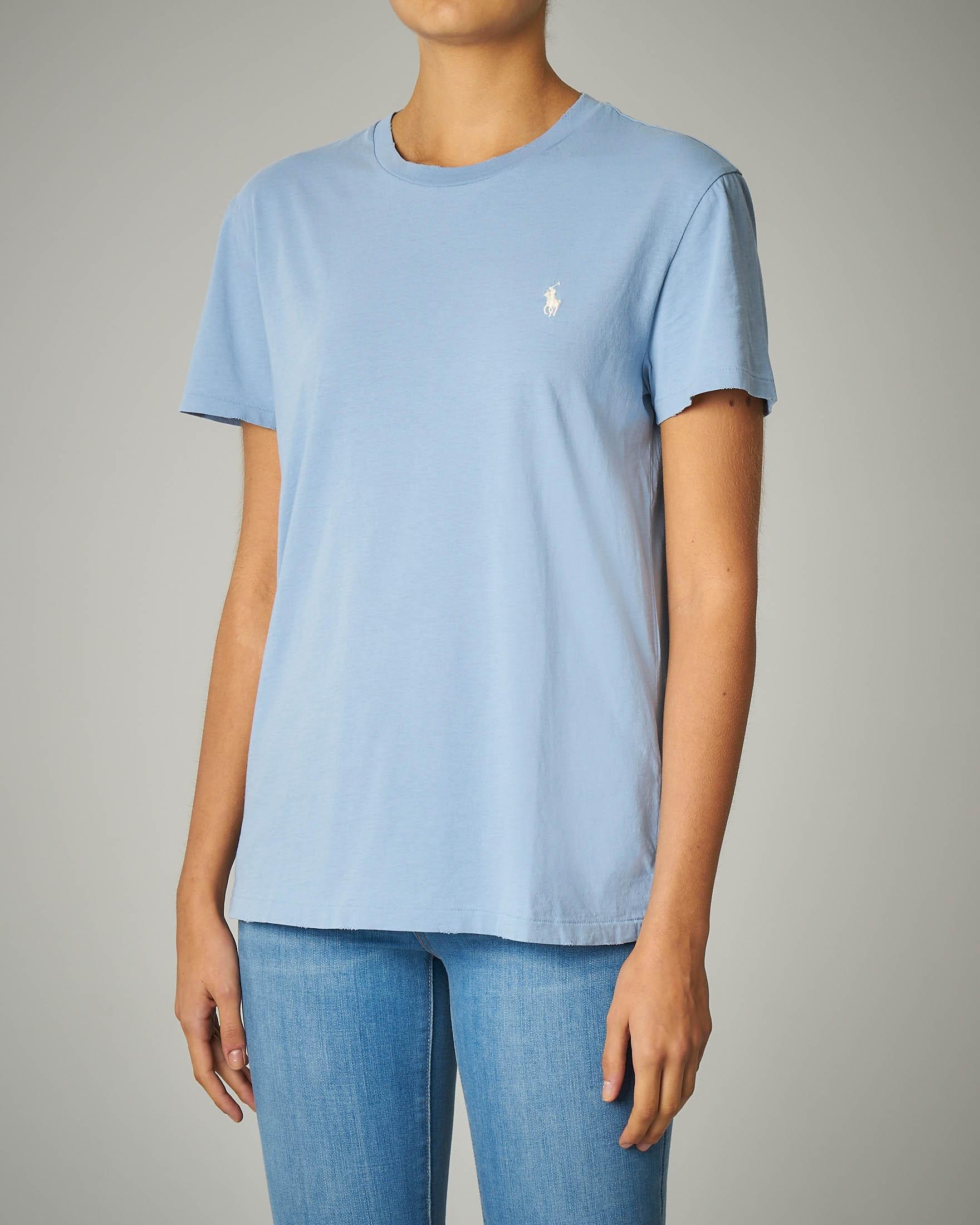 T-shirt girocollo in cotone azzurra
