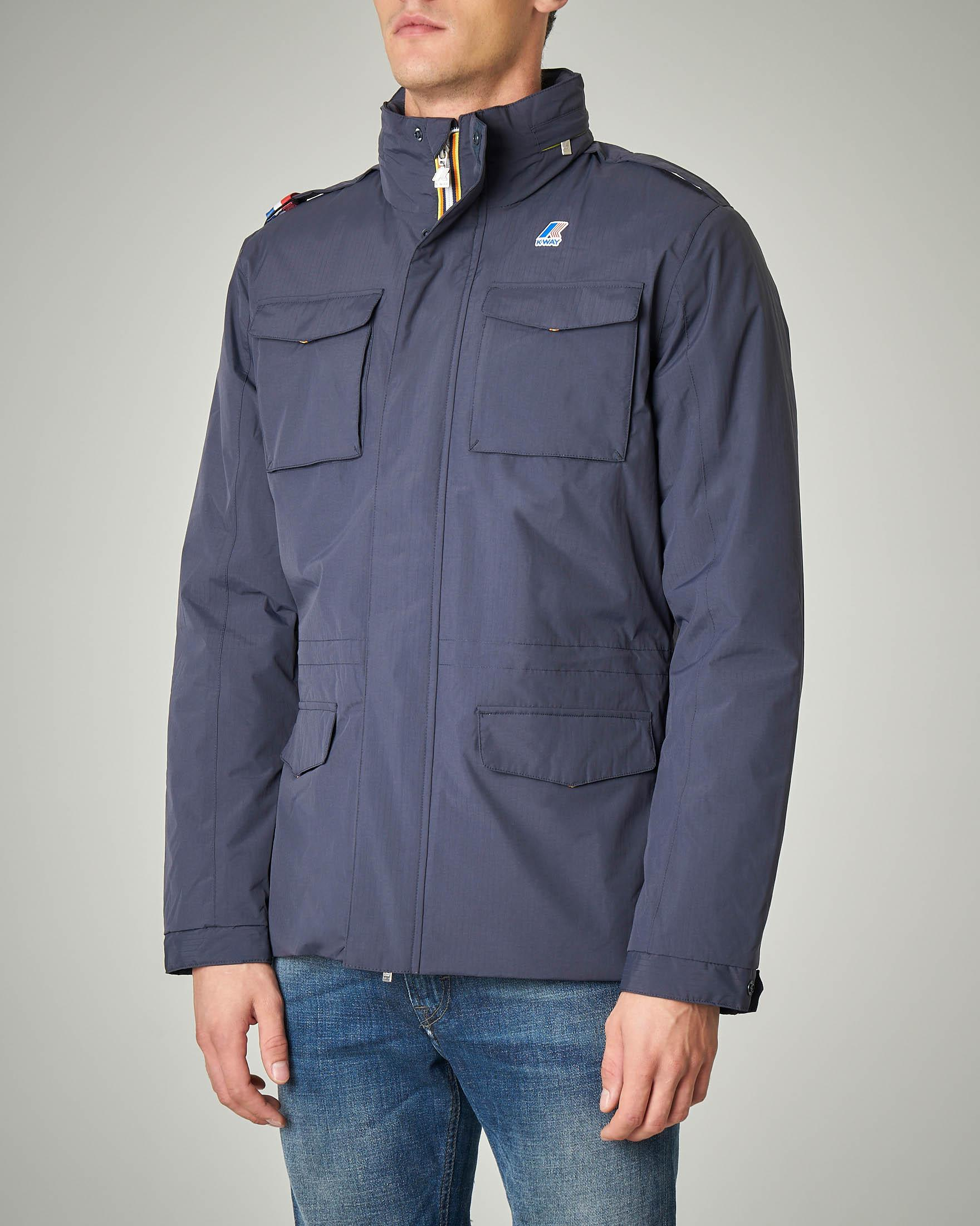 Field Jacket blu in nylon Ripstop