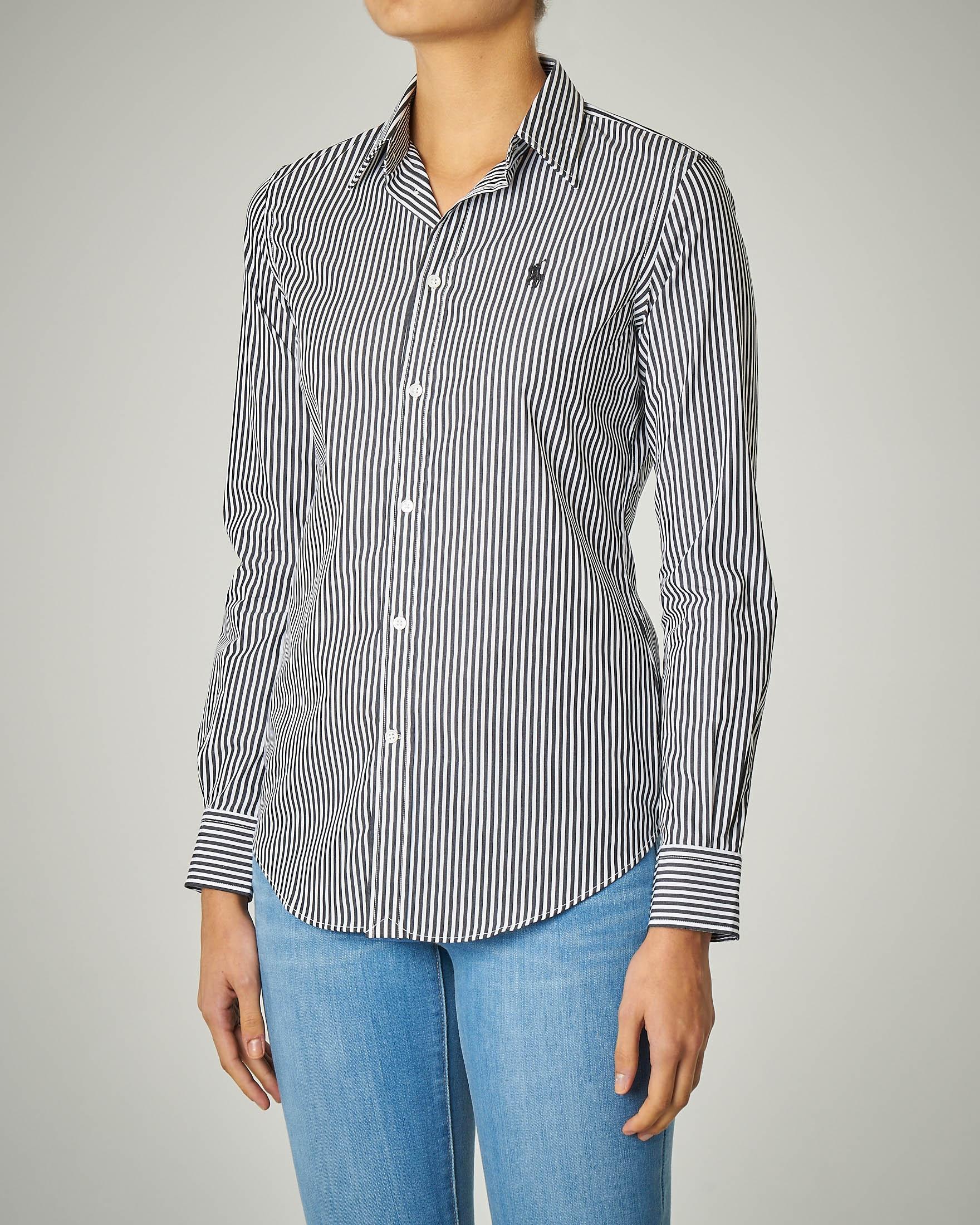Camicia in cotone stretch a righe con logo