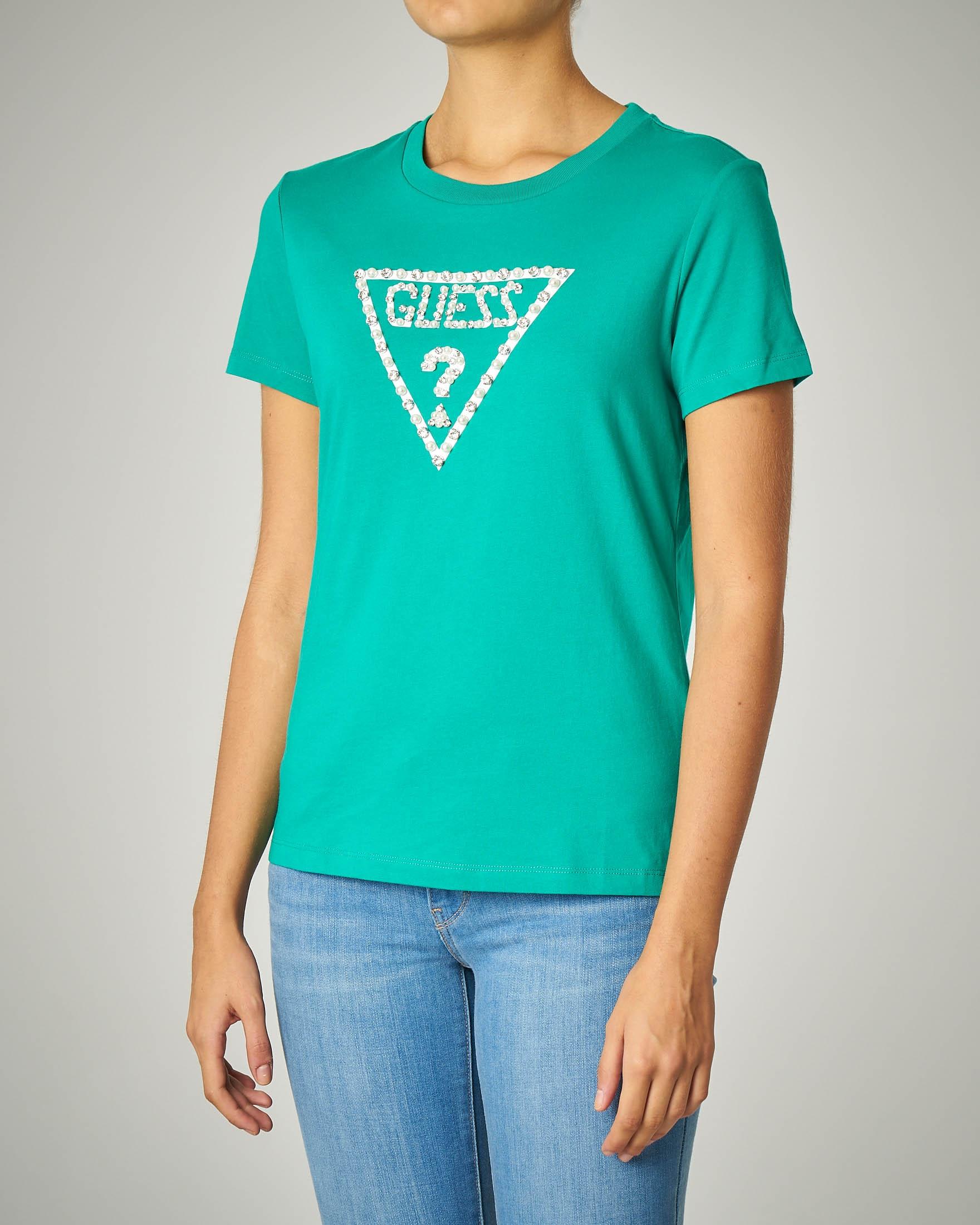 T-shirti verde girocollo con logo ricamato