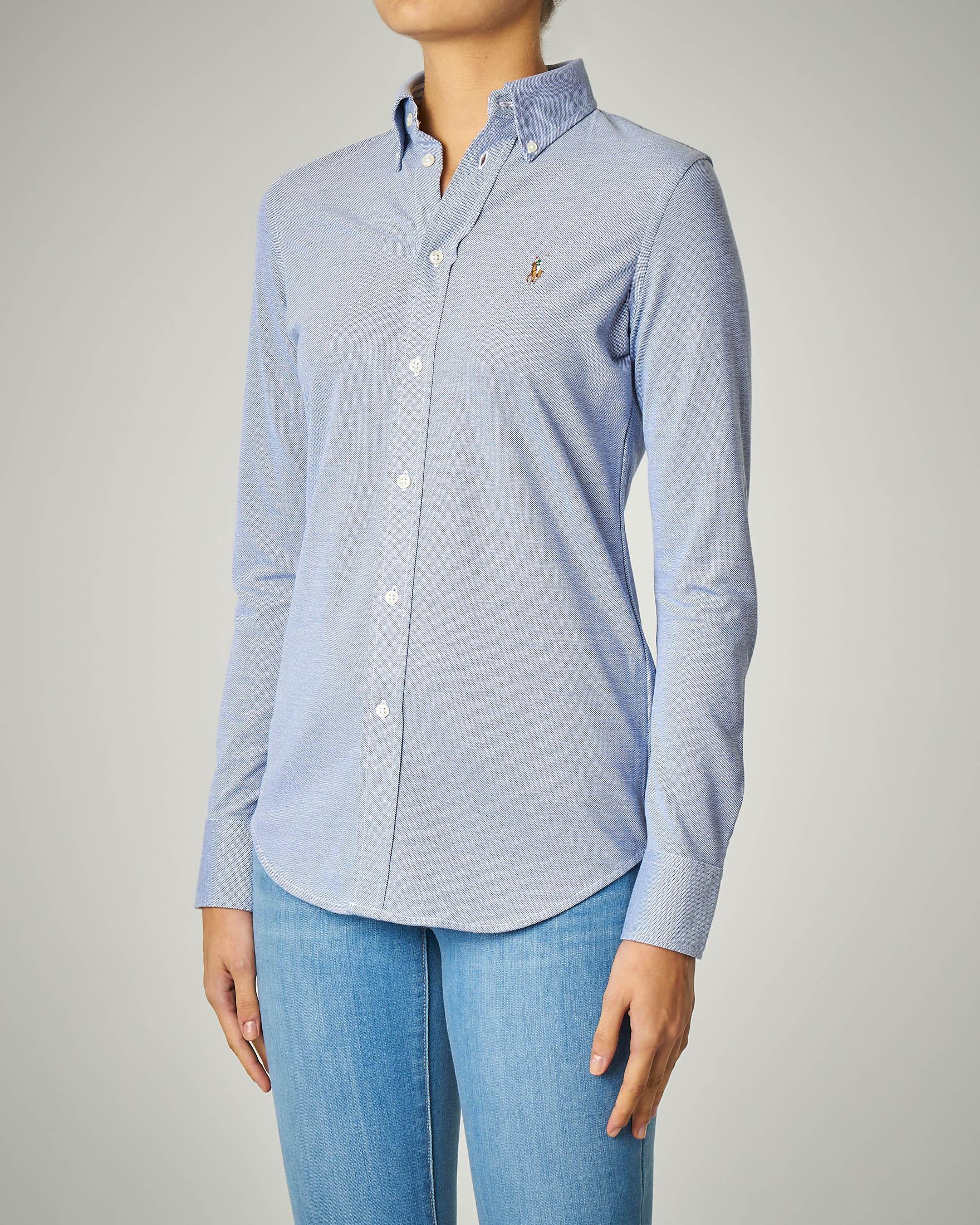 Camicia azzurra in piquè di cotone