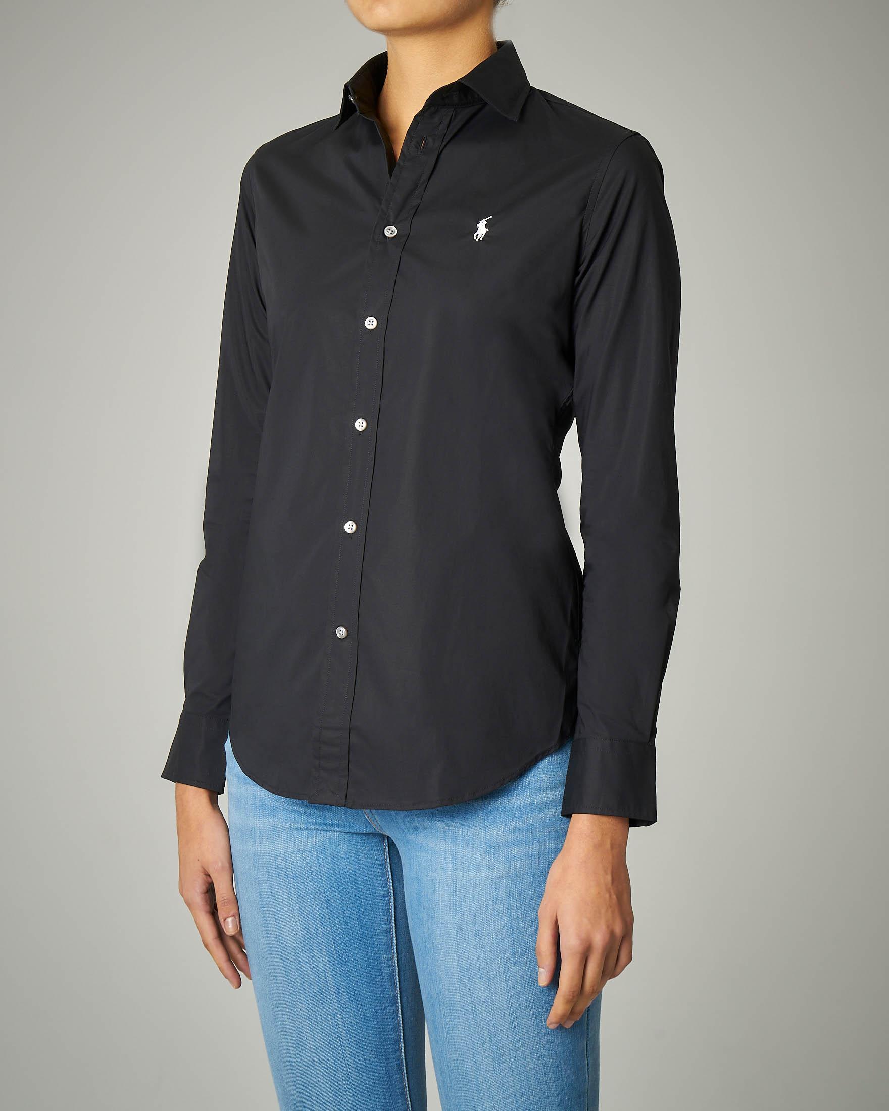 Camicia nera in cotone con logo