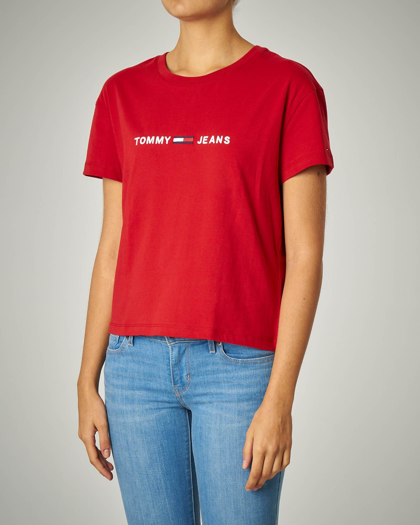 T-shirt girocollo rossa con logo ricamato