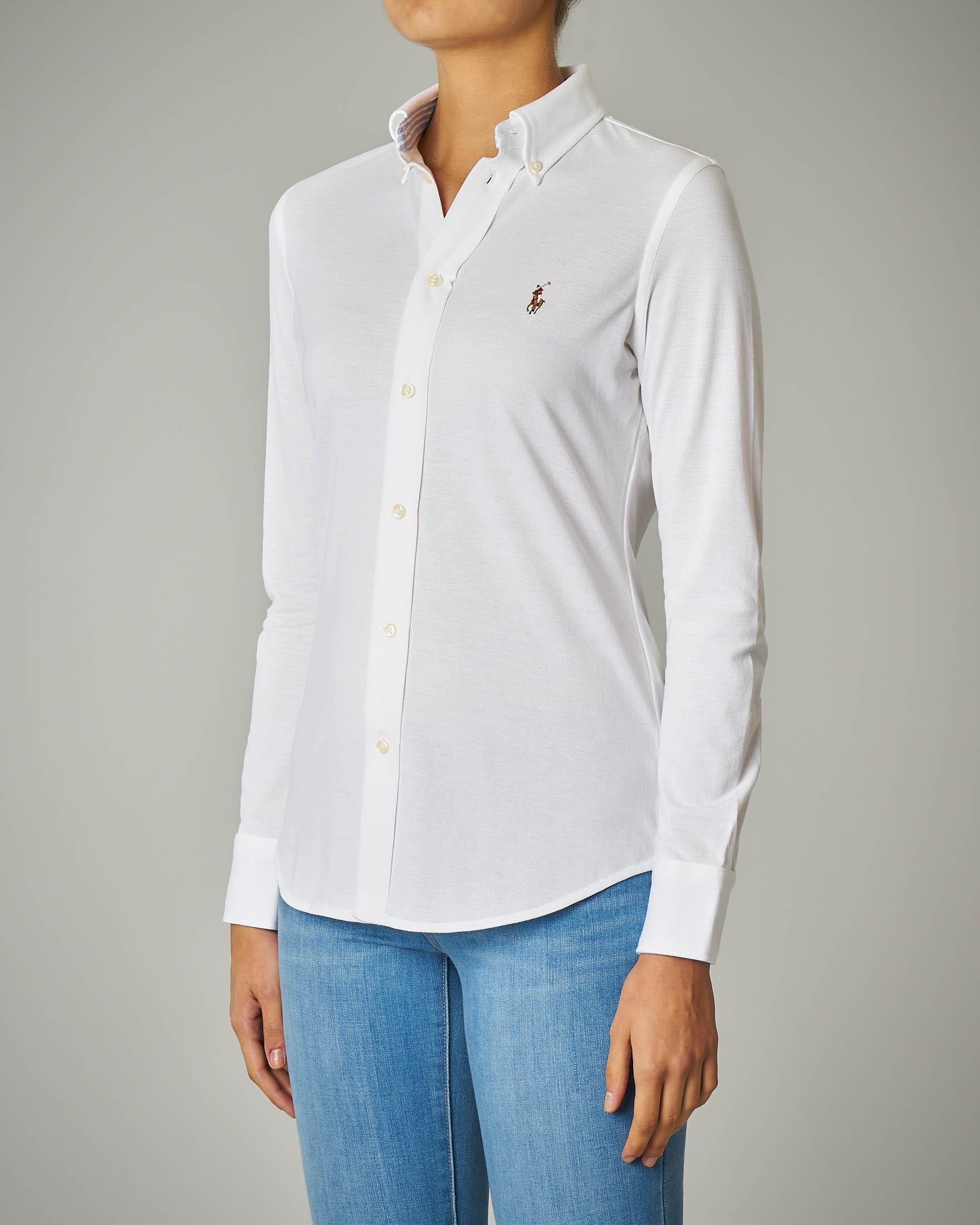 Camicia bianca in piquè di cotone