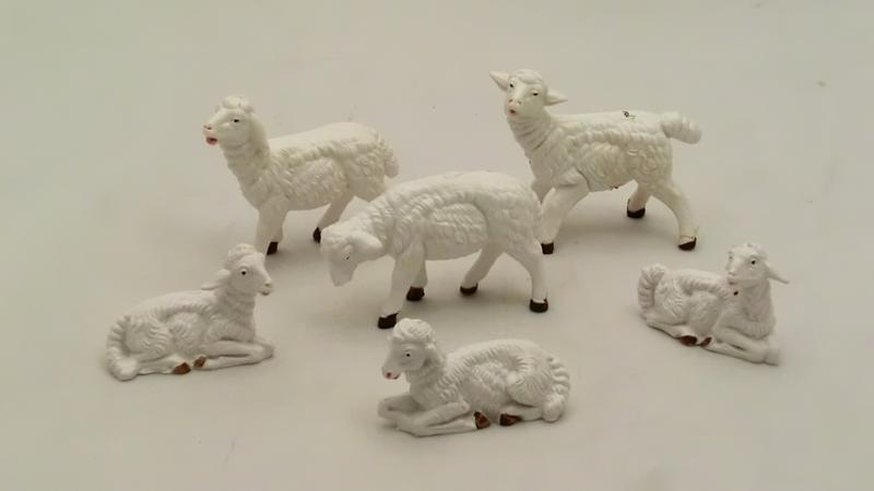 Serie 6 pecore bianche cm 9,5