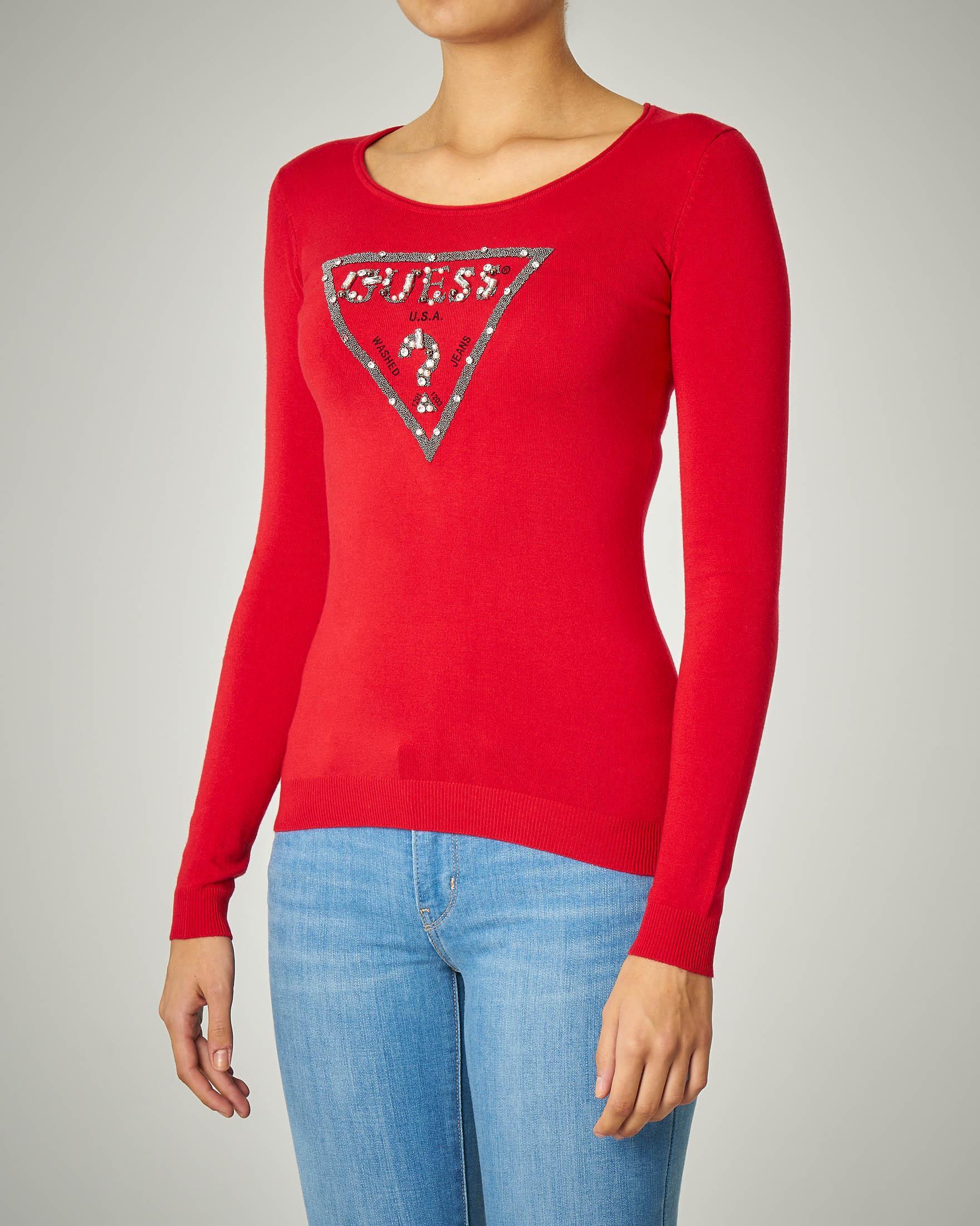 T-shirt rossa manica lunga con logo