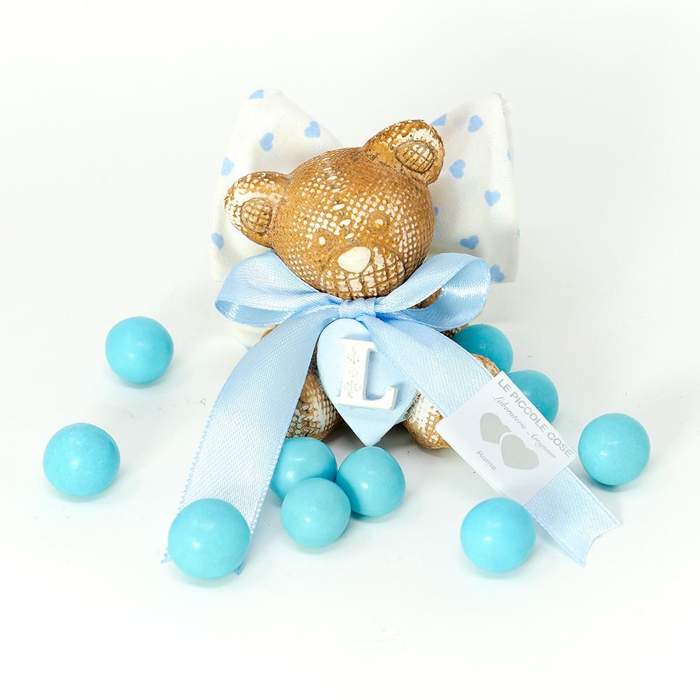Bomboniera orsetto in marmorina con cuore ed iniziale bimbo