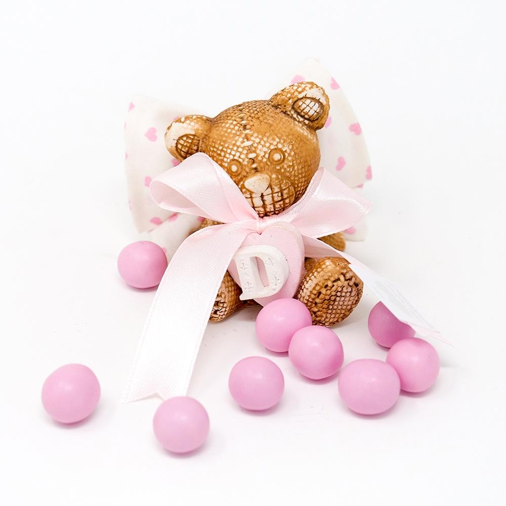 Bomboniera orsetto in marmorina con cuore ed iniziale bimba