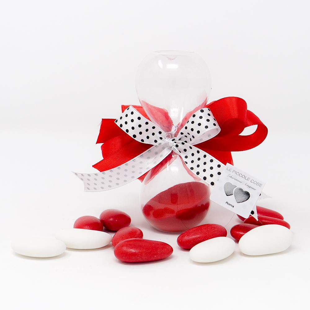 Clessidra con sabbia rossa e farfallina in tulle