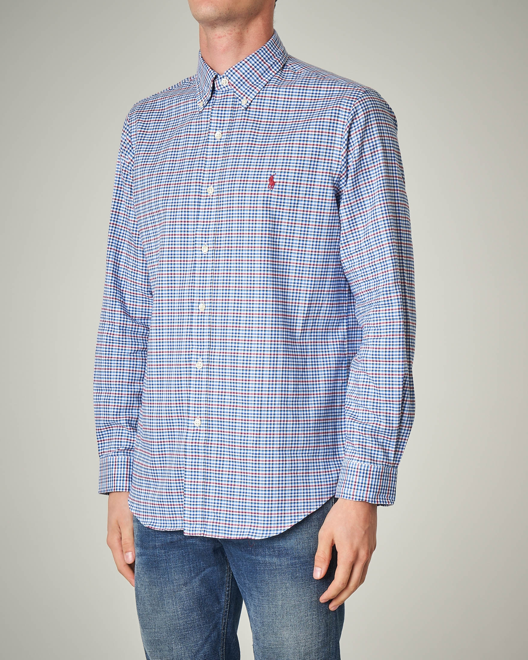 Camicia a quadri azzurri e rossi button down