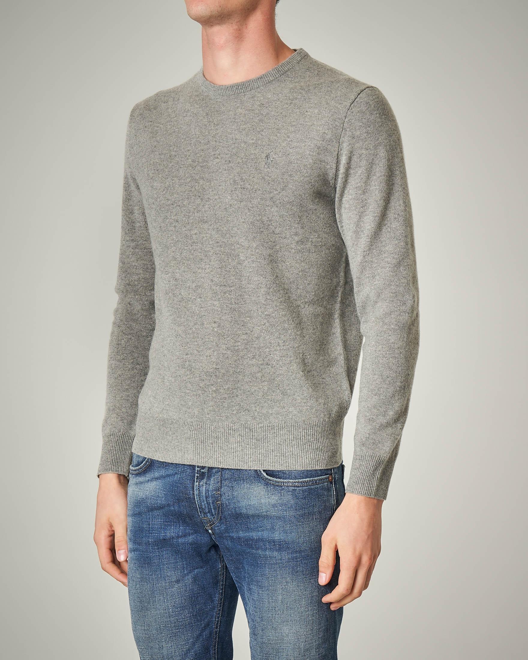 Maglia grigio melange girocollo in lana merino