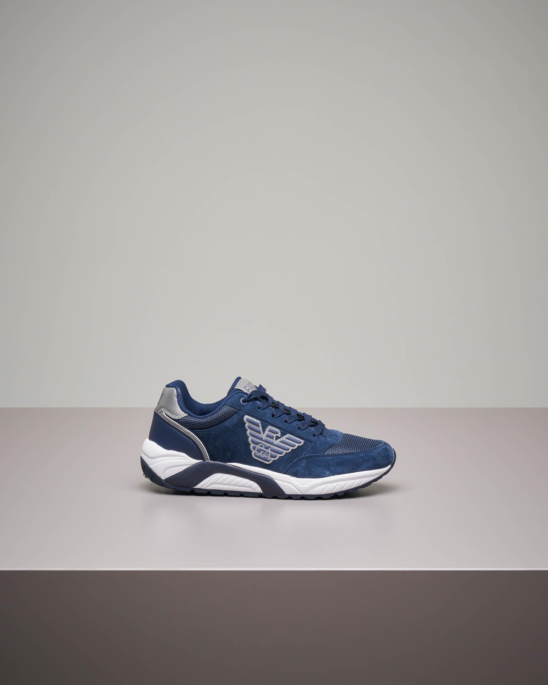 Sneakers blu in pelle e mesh