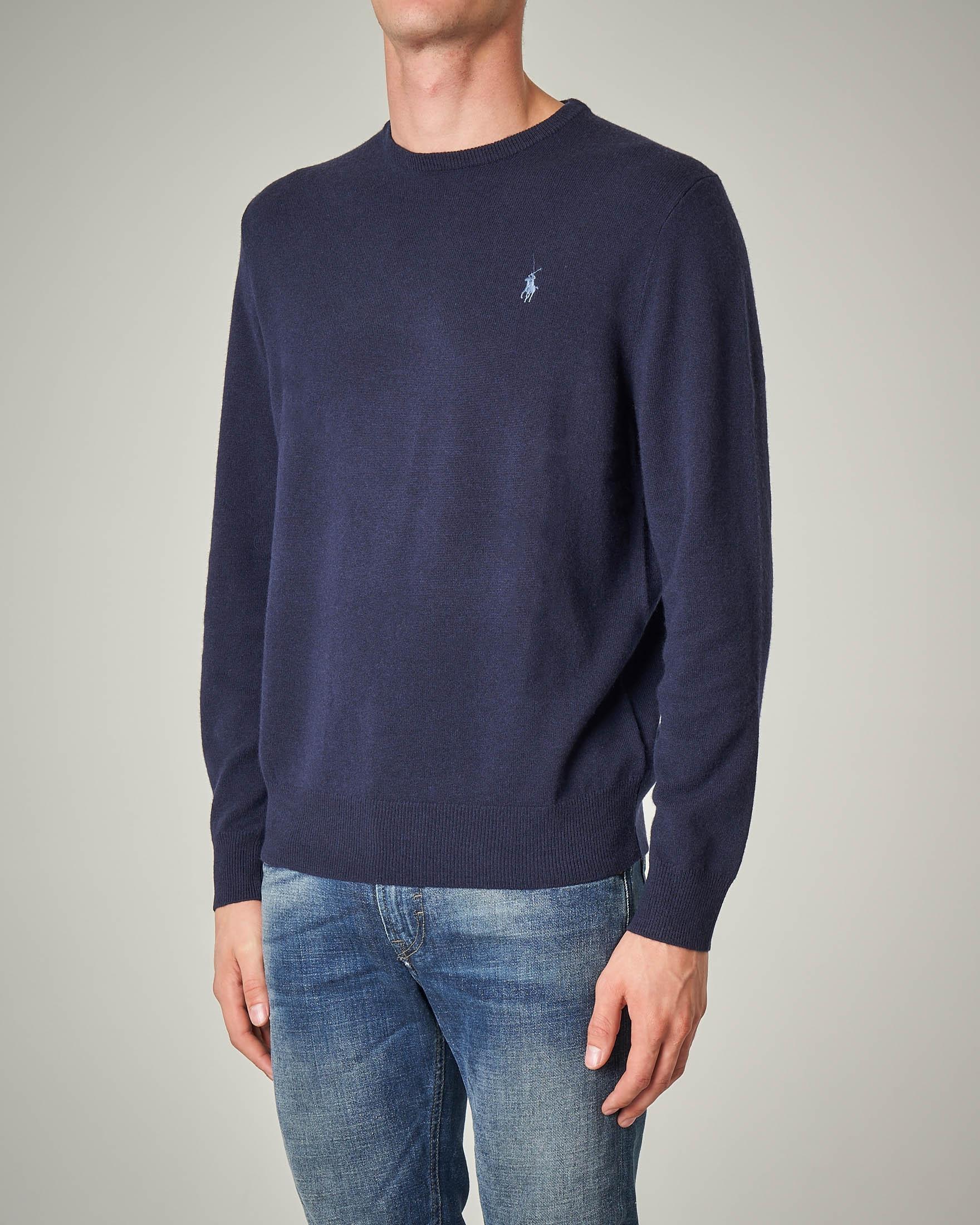 Maglia blu melange girocollo in lana merino