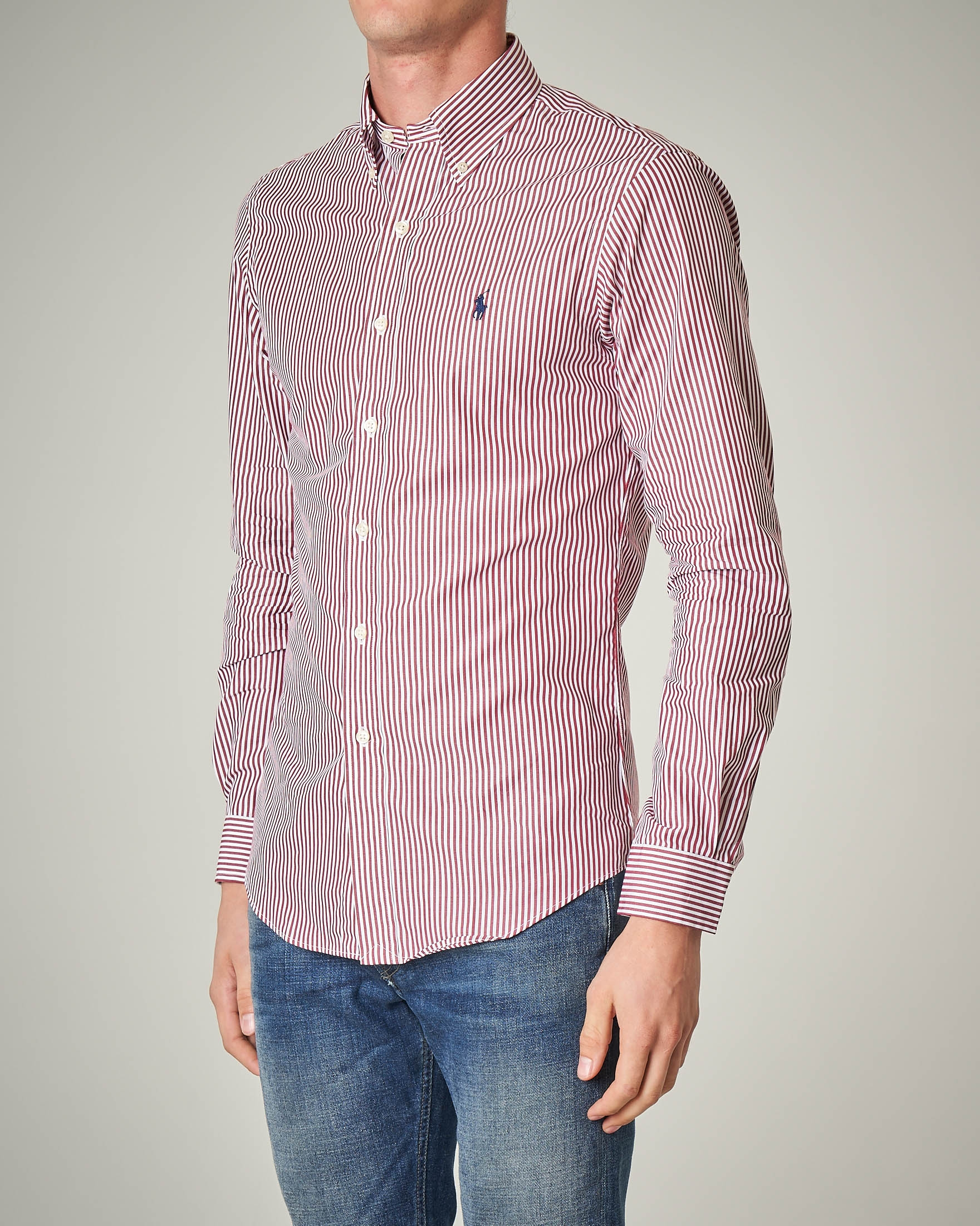 Camicia a bastoncino bianco-bordeaux button down