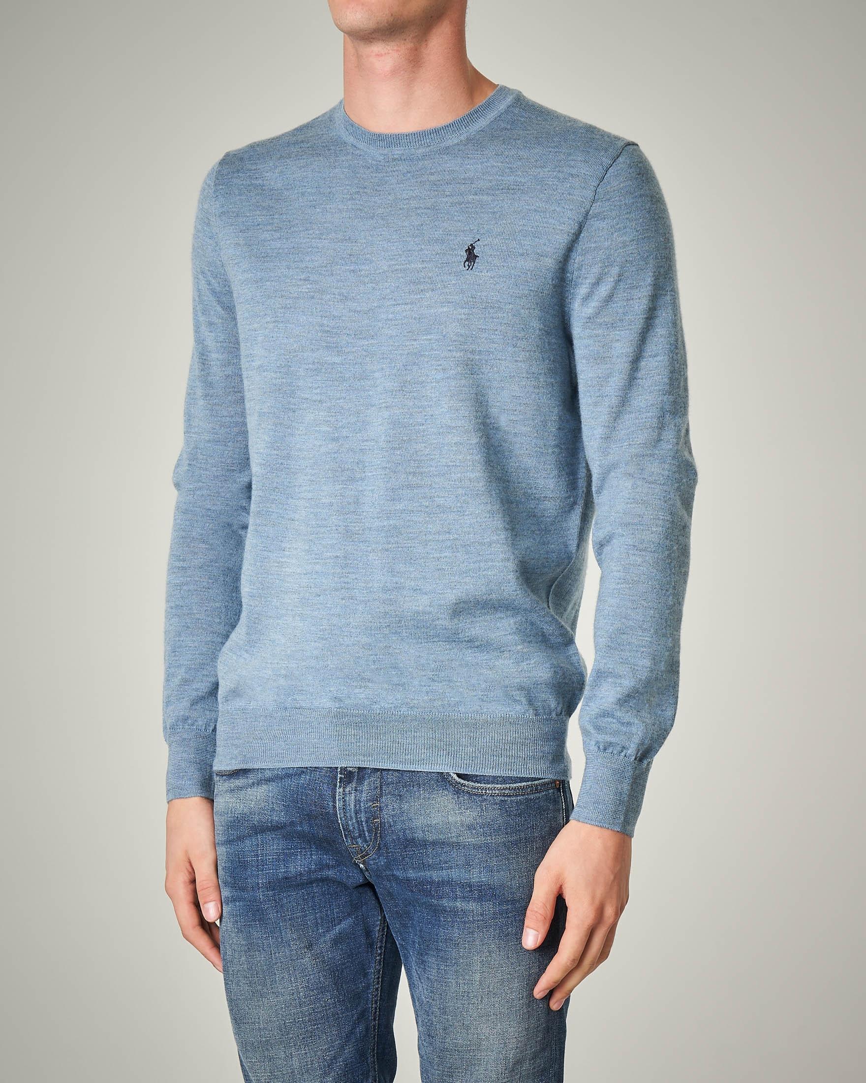 Maglia azzurra girocollo in lana merino