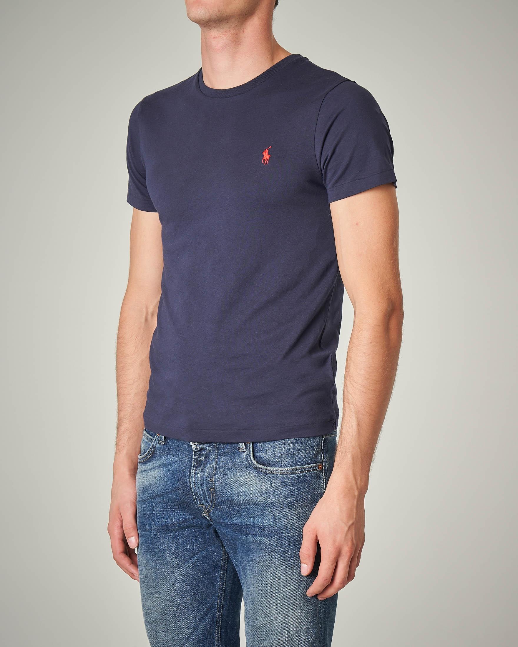 T-shirt blu in cotone con logo pony