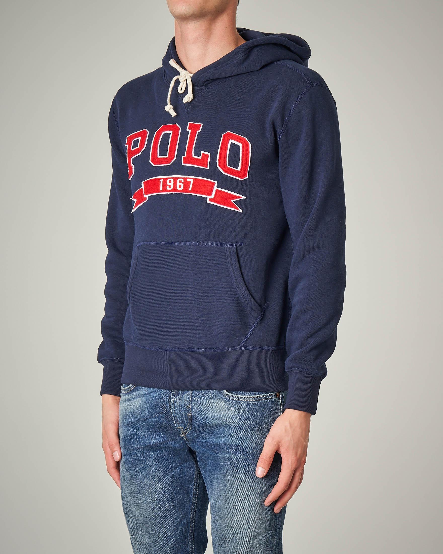 Felpa blu con cappuccio e maxi logo Polo