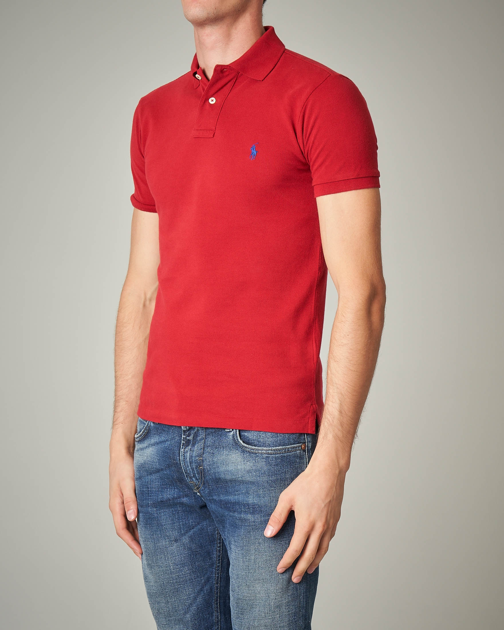 Polo rossa in piquet slim-fit