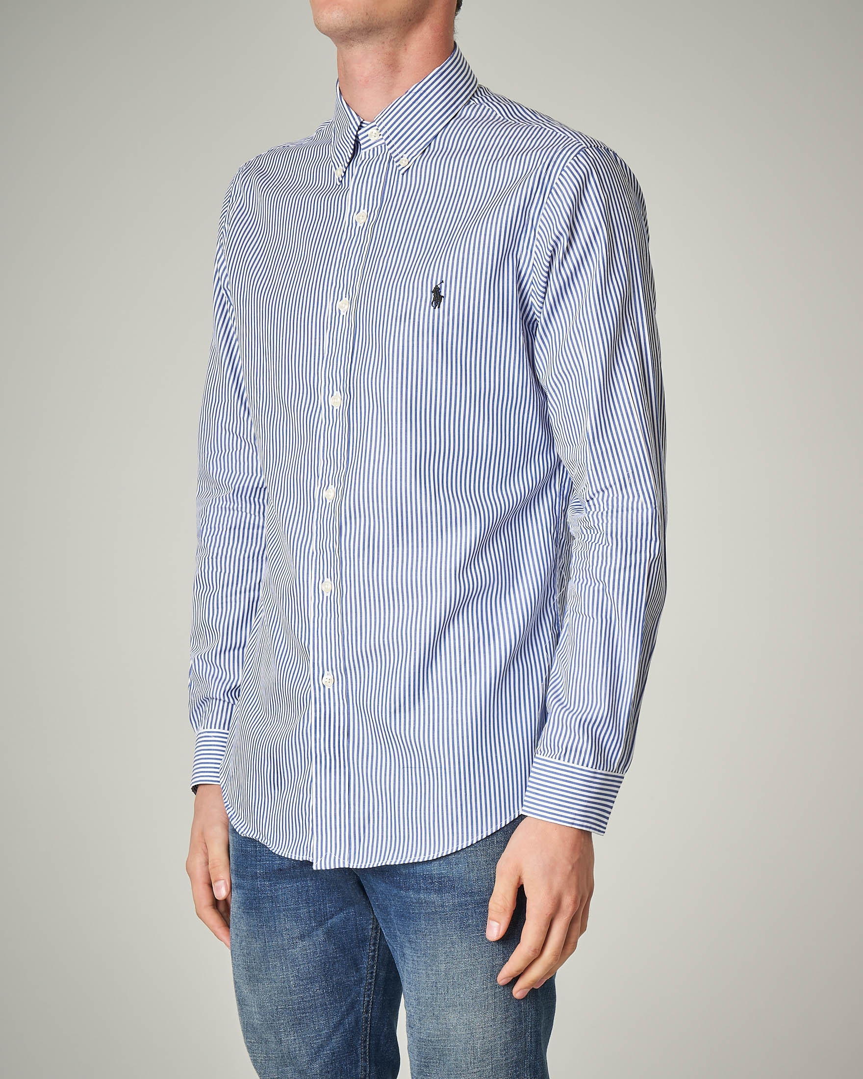 Camicia a bastoncino bianco-blu button down