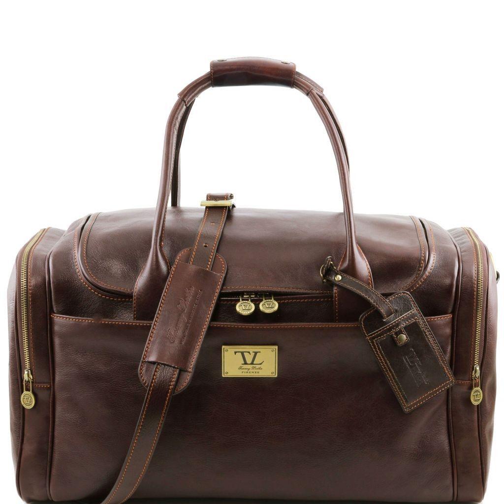00ec21733c Tuscany Leather TL141296 TL Voyager - Borsone viaggio in pelle con tasche  laterali Testa di Moro