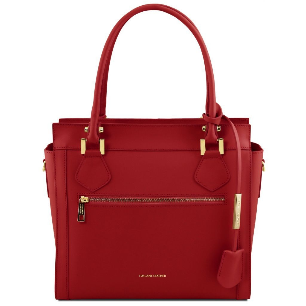 Tuscany Leather TL141644 Lara - Leather handbag with front zip Red