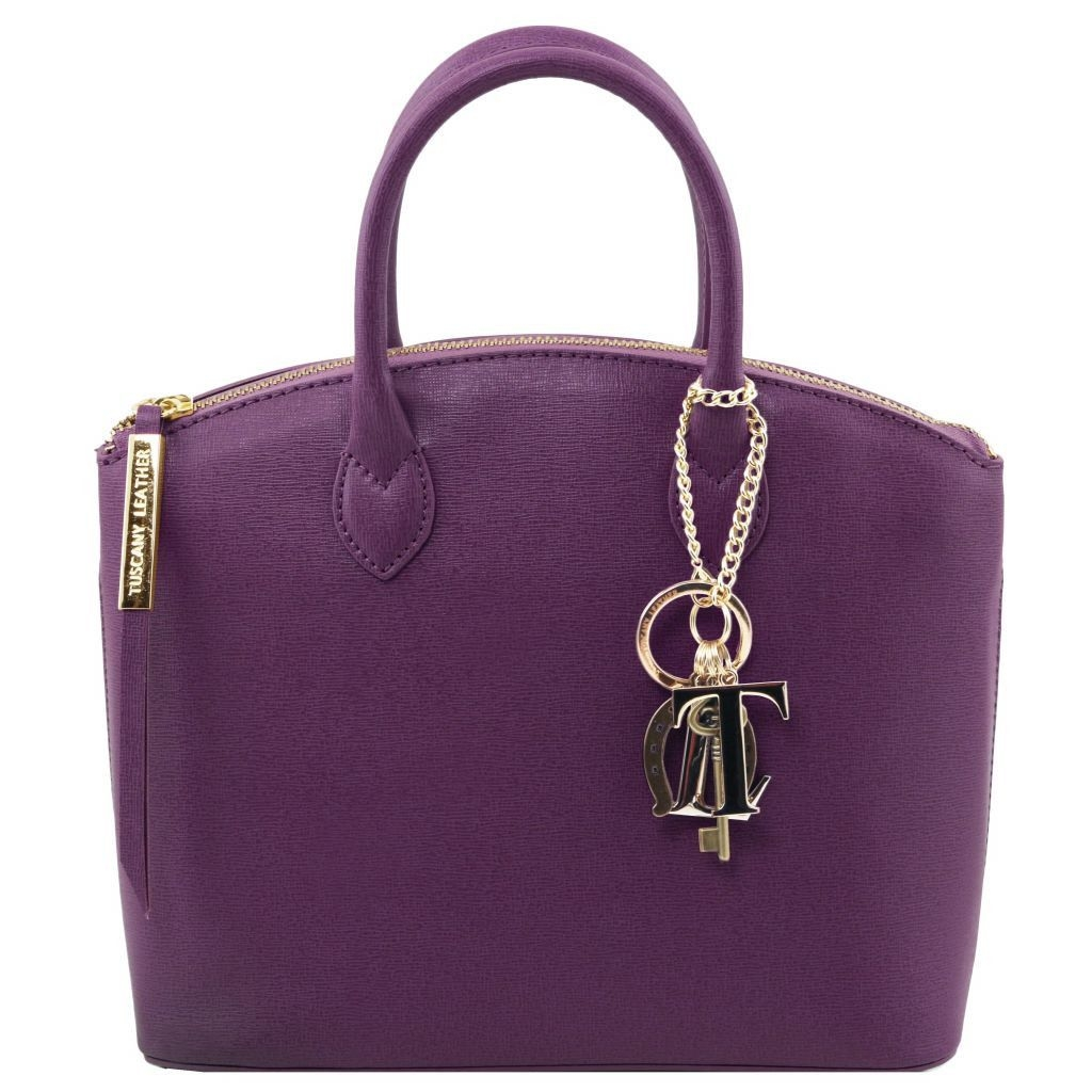 Tuscany Leather TL141265 TL KeyLuck - Saffiano leather tote - Small size Purple