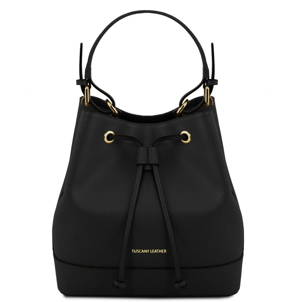 Tuscany Leather TL141436 Minerva - Saffiano leather secchiello bag Black