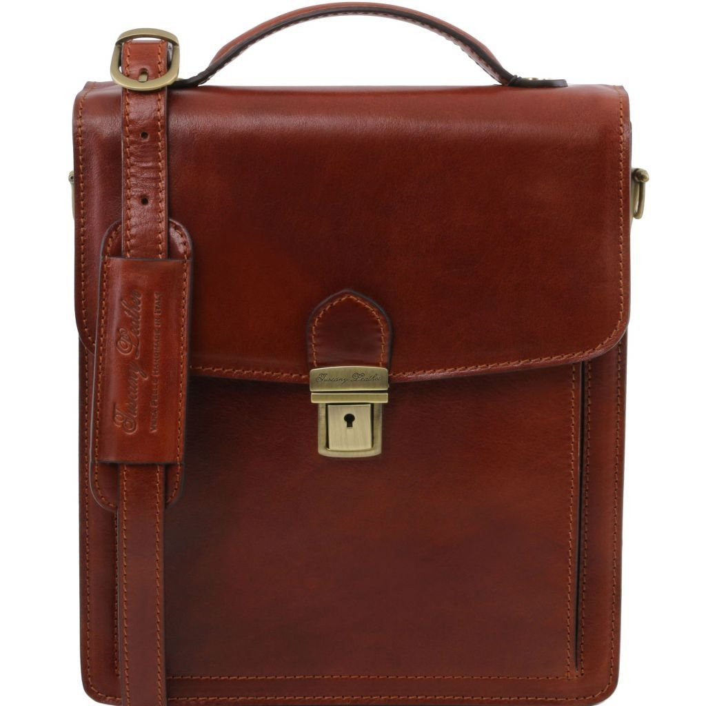 Tuscany Leather TL141424 David - Leather Crossbody Bag - large size Brown