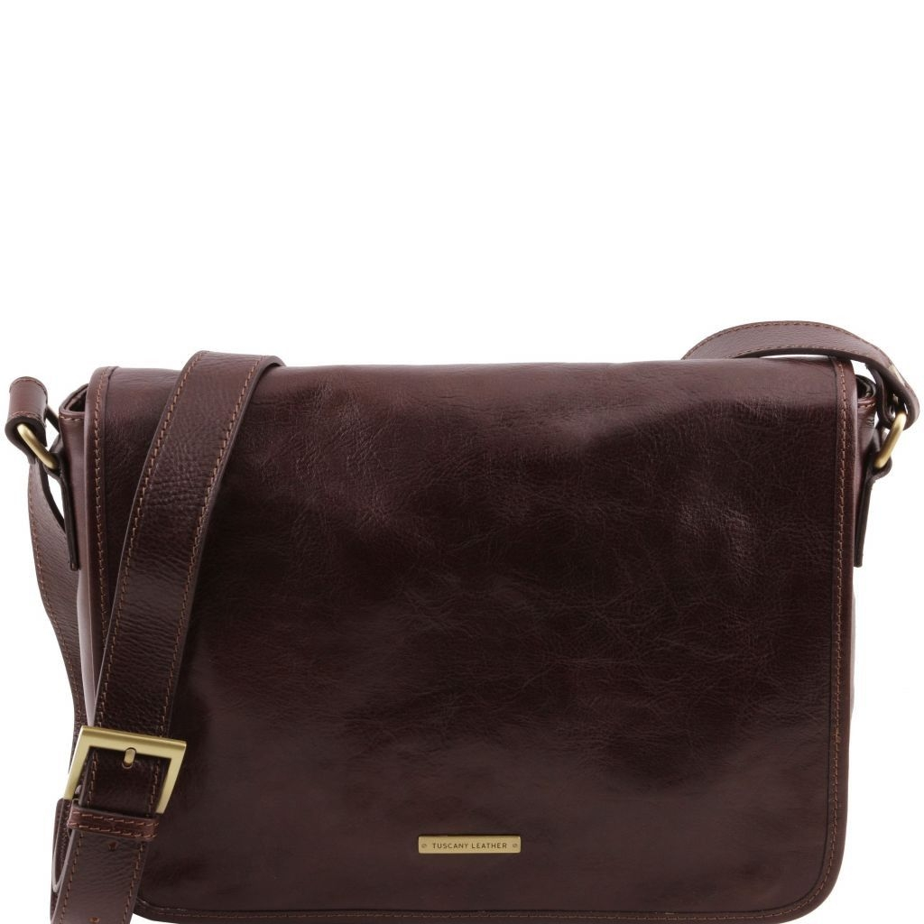 Tuscany Leather TL141301 TL Messenger - One compartment leather shoulder bag - Medium size Dark Brown